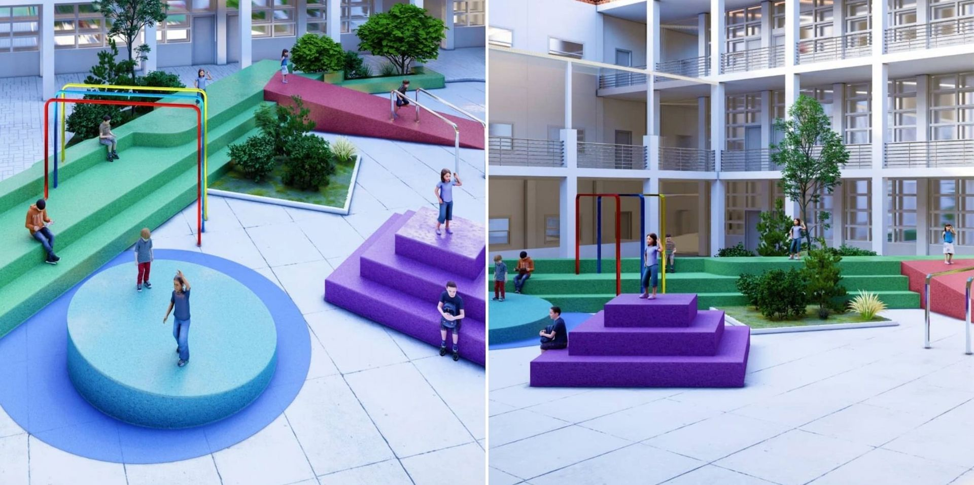 Renderings for soon-to-be constructed playgrounds from the Let's Play initiative. Photos © Let's Play
