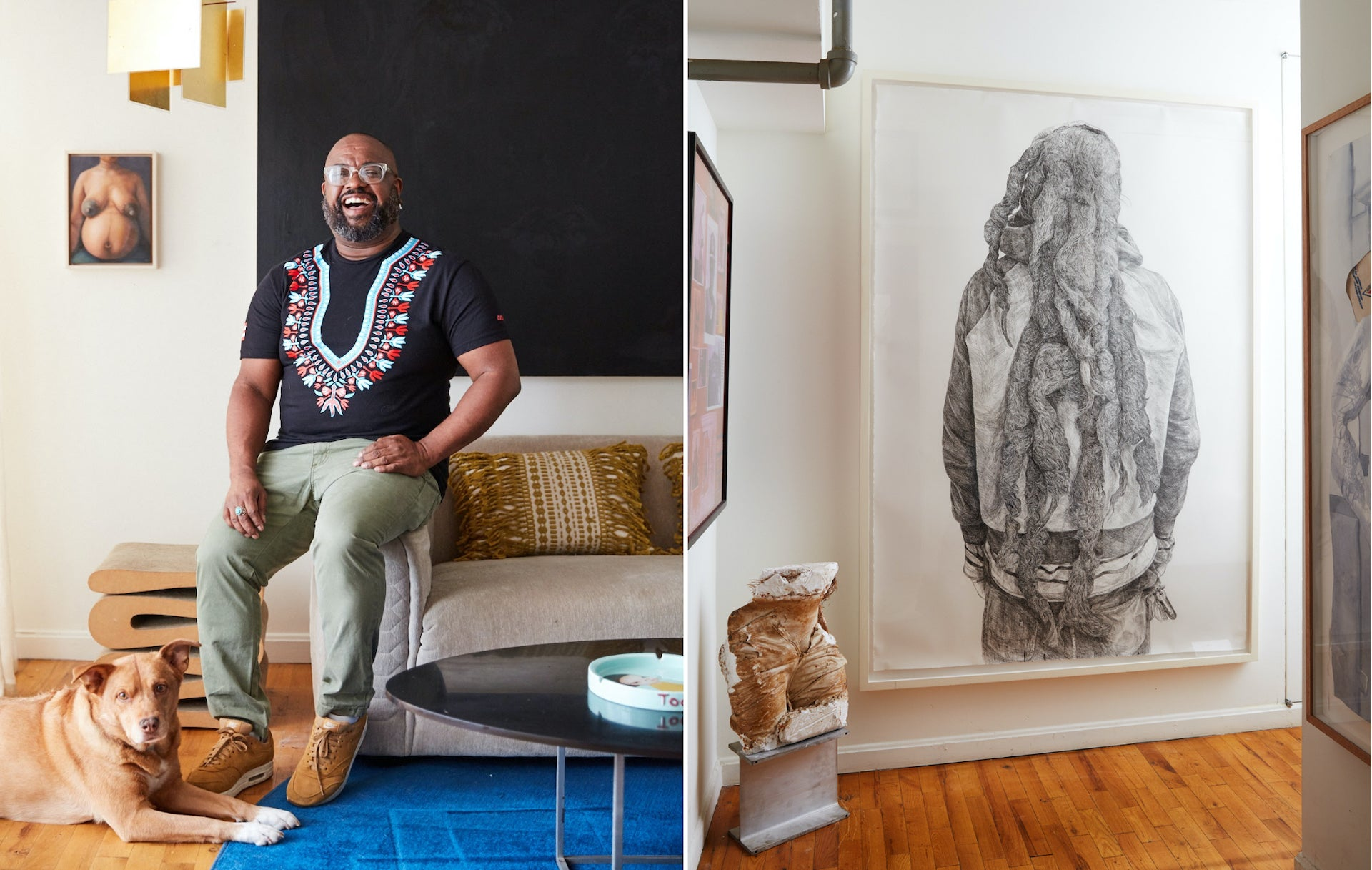 Left: Interior designer Leyden Lewis and his dog Nika in their Brooklyn loft. Right: An ink drawing of a Rastafarian's back by Chinatsu Seya and a sculpture by Lewis himself greet guests in his entrance foyer. Photos © David A. Land