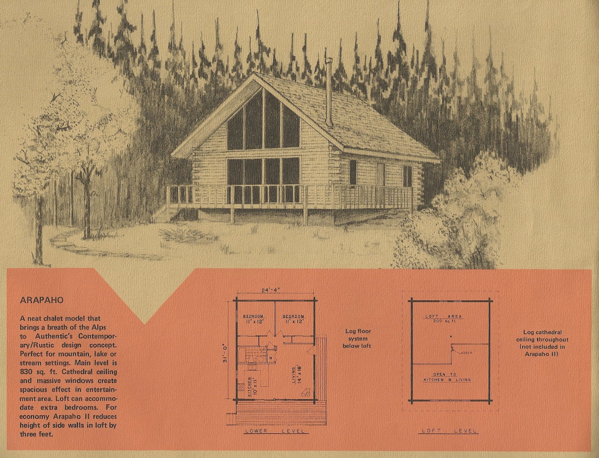 "Plans for building a log cabin, published by Authentic Home Corp. in the 1975. ""My partner and I found a lovely 1970's log kit home tucked on the cusp of the Ozark National Forest, where we live and work."" Photo © Authentic Home Corp."