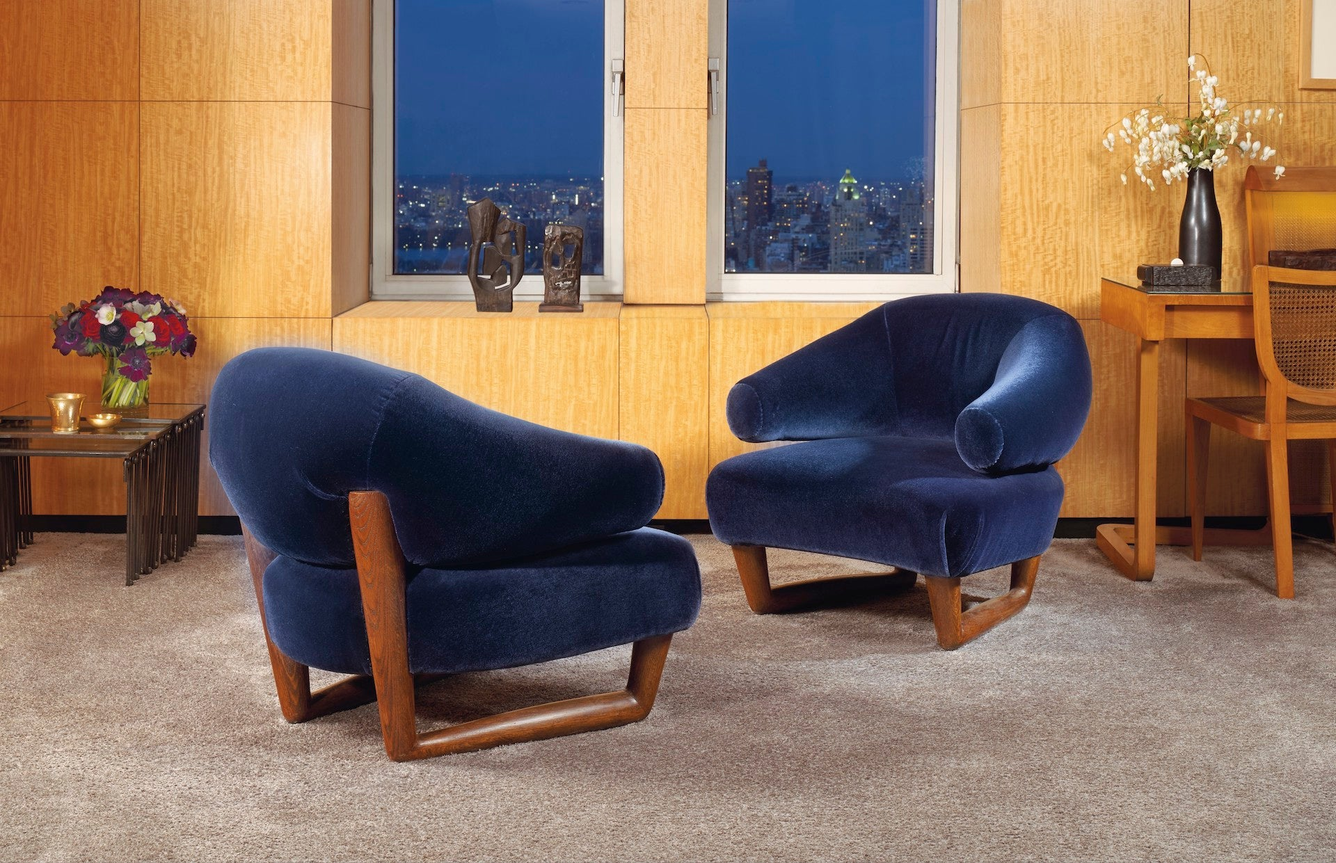 Christie's New York 26 May 2021 - Paris in New York: A Private Collection of Royère, Vautrin, Jouve [lot 11]: Pair of Sculpture Armchairs by Jean Royere, c. 1955. Estimate: $200,000 - $300,000. Sold: $882,000. Photo © Christie's Images Limited 2021