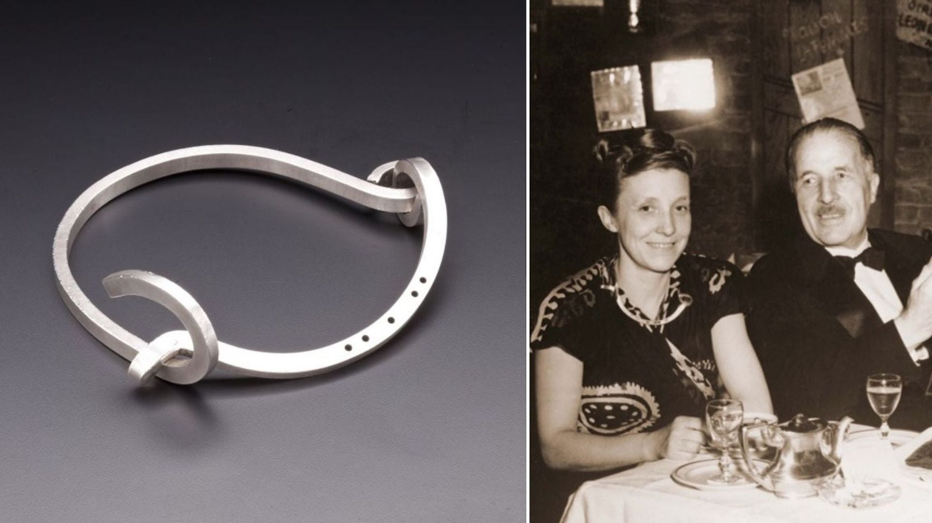 Shackle Necklace by Louise Bourgeois, c. 1948/1999. Louise Bourgeois wearing the shackle necklace at lunch with her father, 1948. Photos courtesy of Didier Ltd.