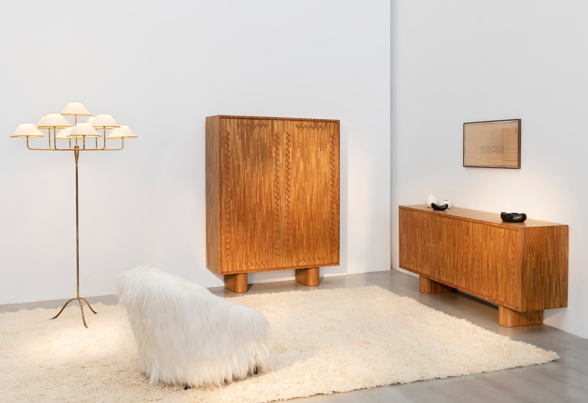Rare Marquetry Collection by Jean Royère, c. 1951. Photo © Galerie Patrick Seguin