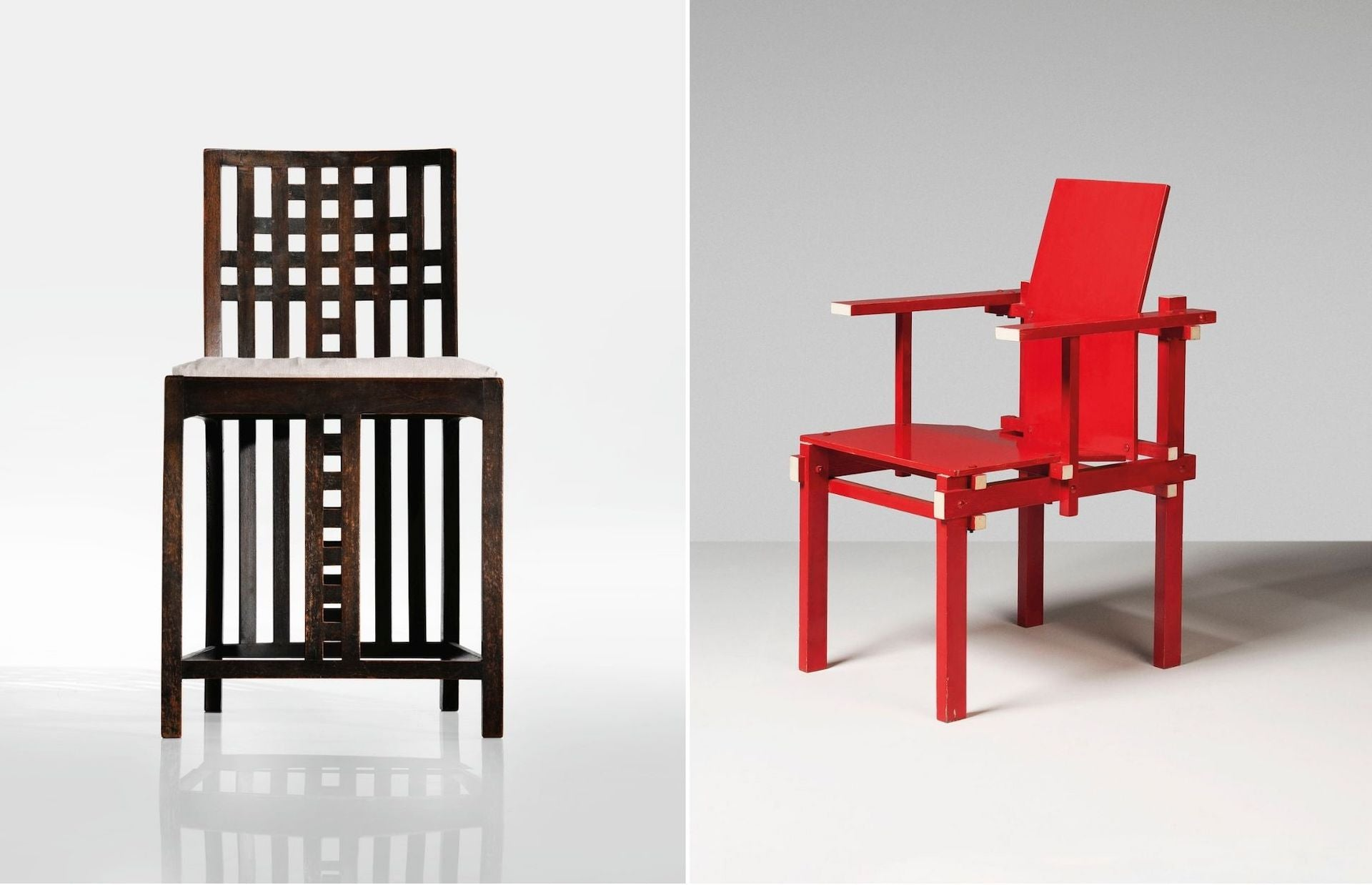 Left: Side Chair from the White Bedroom by Charles Rennie Mackintosh, c. 1904. Sold at Sotheby's in 2017 for $576,500. Photo © Sotheby's. Right: Armchair by Gerrit Rietveld, designed 1925, produced c. 1962-1964. Sold at Christie's in 2019 for £25,000. Photo © Christie's