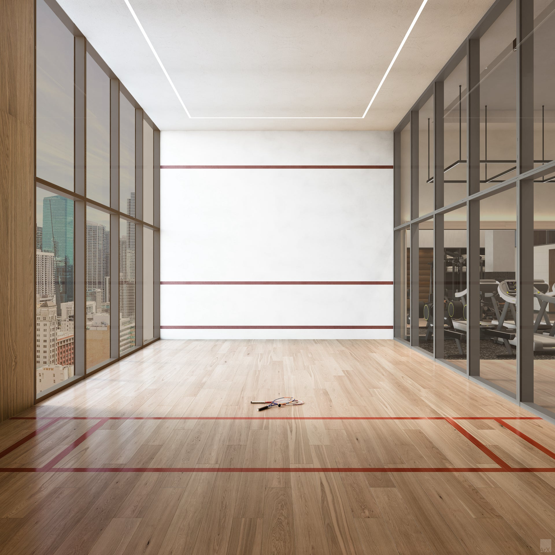 Indoor squash court, one of the public amenities at District 225 in downtown Miami. Photo © Meshberg Group