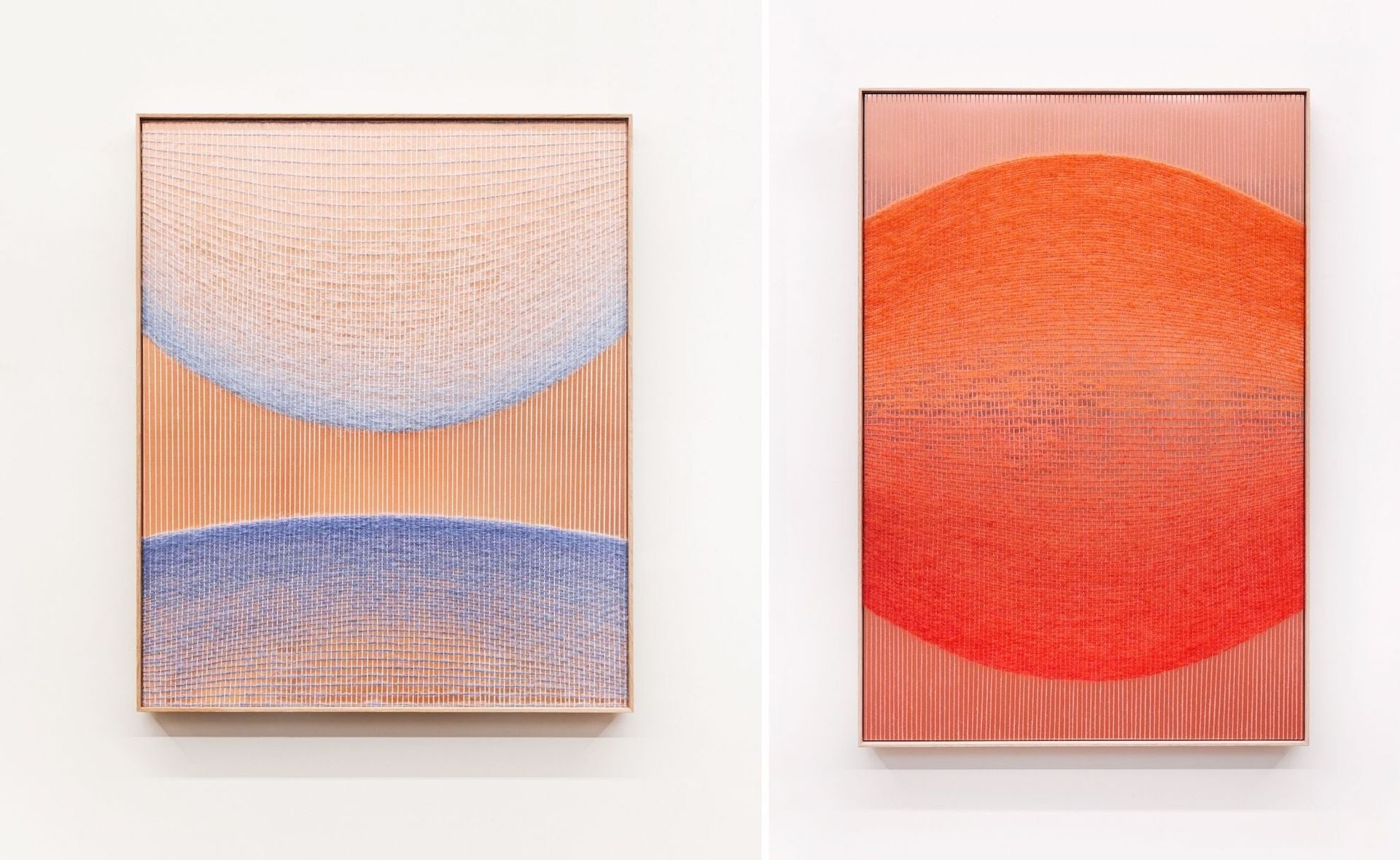 Left to right: Pale Blue Ellipses and Copper and Orange-Red to Red-Ellipse by Mimi Jung (2020); Natural fibers, copper sheet and wood frame. Photos © Mimi Jung