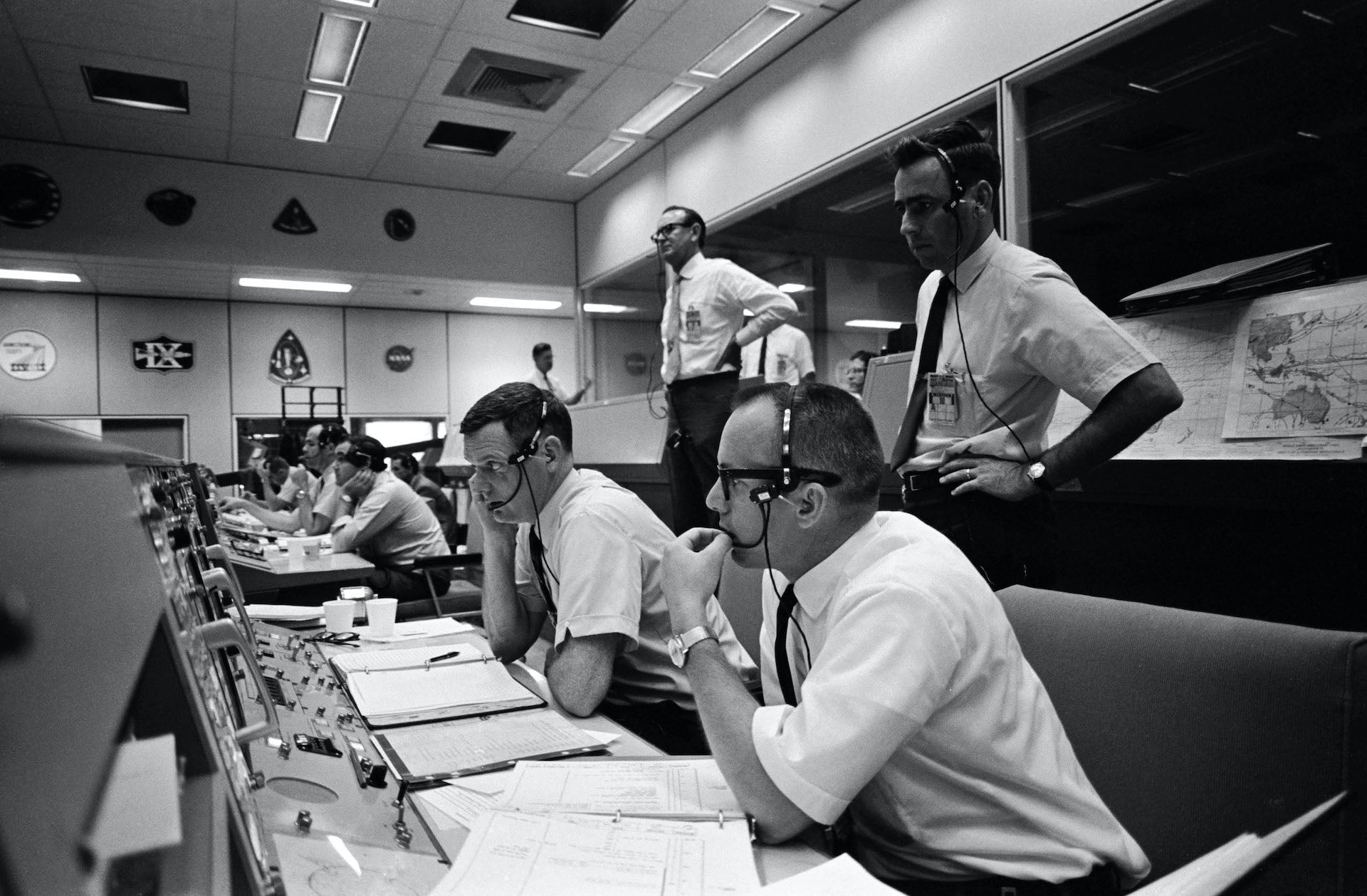 """View of Mission Control Center on the first day of the Apollo 10 lunar orbit mission, May 18, 1969. Rodriguez says, """"The Apollo missions bring back the memory of my father, who was part of this extraordinary endeavor, but more so exemplify the idea of America for me... The scale and ambition were enormous, the odds unimaginable, and yet, the spirit was one of absolute confidence that it was possible and necessary for America to achieve. And it did—in a way that would cement America's status as the leader of the free world for many years past the missions. I hope that it can be a beacon for America to return to."""" Photo © NASA"""