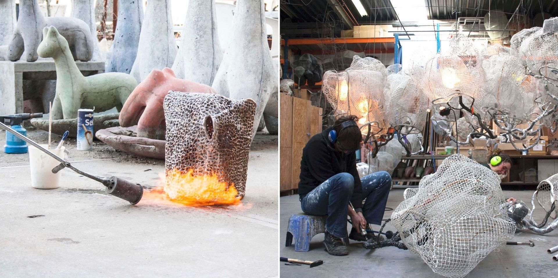 Carbonell and his team at work in the studio. Photos © Carpenters Workshop Gallery