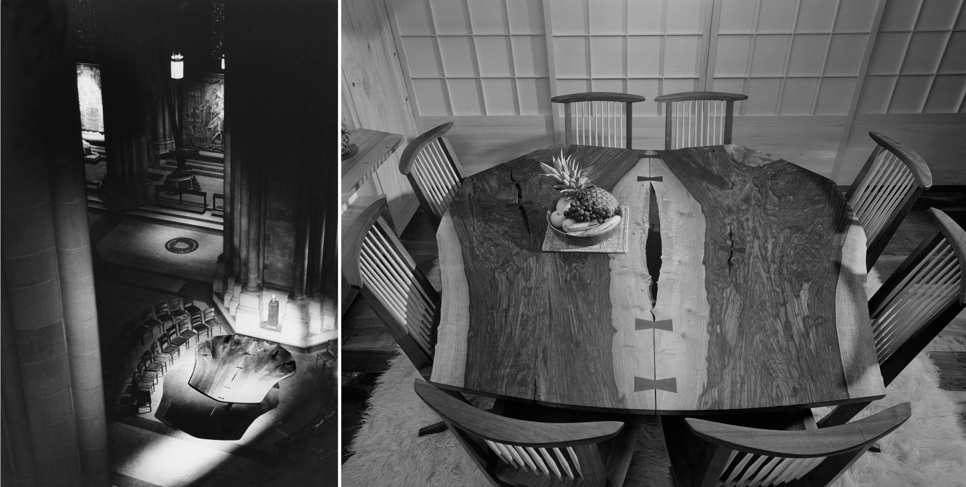 Nakashima's famed Peace Altar for the Cathedral of St John The Divine in New York City, installed 1986. Photo Mary Bloom | Nakashima's Book-Matched Sanso Table. Photos © Ezra Stoller Archive - Esto; courtesy of George Nakashima Woodworkers