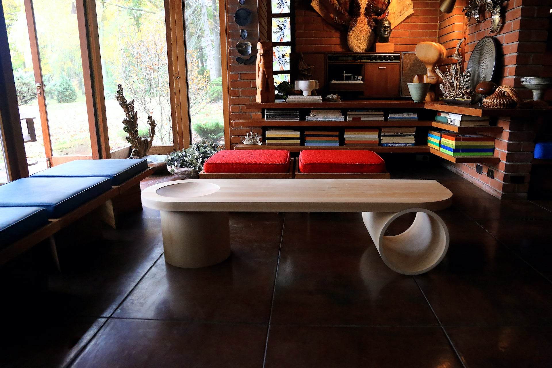 """Cho's new Recess Table. """"This photo was photographed with permission in the Frank Lloyd Wright-designed Smith House in Bloomfield Hills, Michigan,"""" Cho says. """"The house is operated by Cranbrook Center for Collections and Research."""" Photo © Rare JK; Courtesy of Nina Cho"""