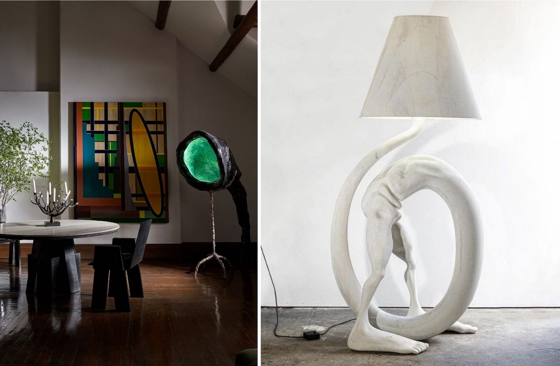 Left: Objective gallery in Shanghai. Right: Pipe Being Lamp by Vincent Pocsik, 2020. Photos © Objective