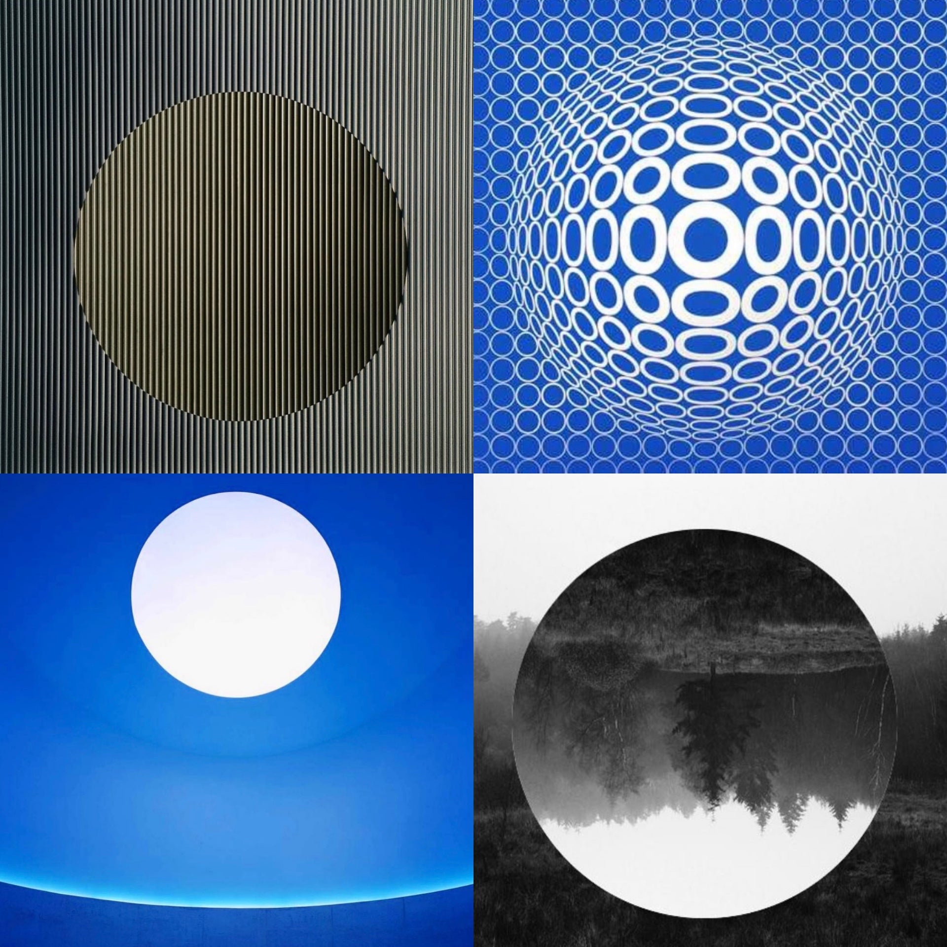 Examples of the oculus motif in Pop Art, featuring details from work by Carlos Cruz-Diez, Victor Vasarely, James Turrell, and Anish Kapoor. Collage courtesy of Lee Mindel