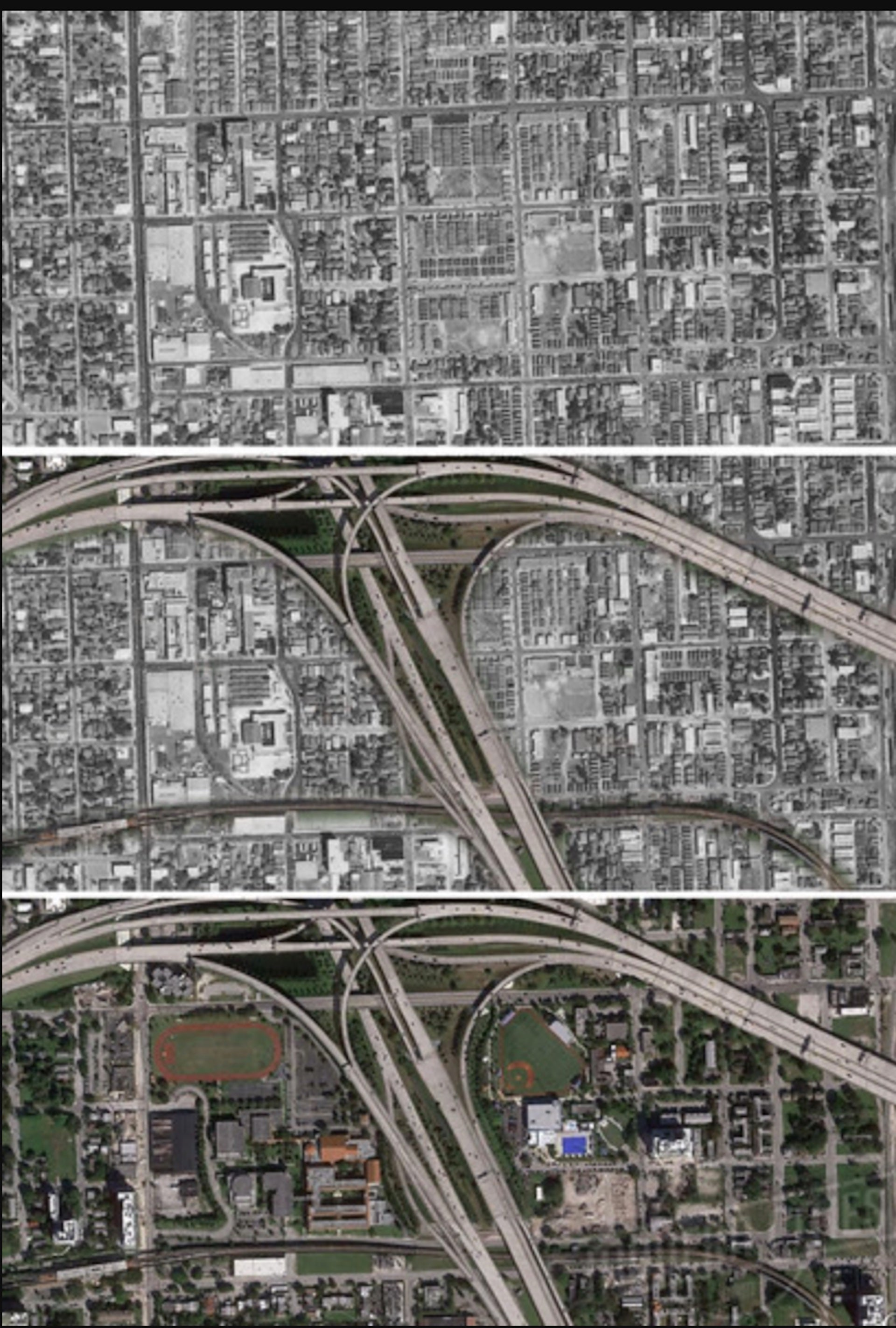 The transformation of the Overtown neighborhood—once known as Colored Town—in downtown Miami, Florida, before and after the insertion of the I-95/I-395 interchange in the 1960s. Image via Moderncities.com
