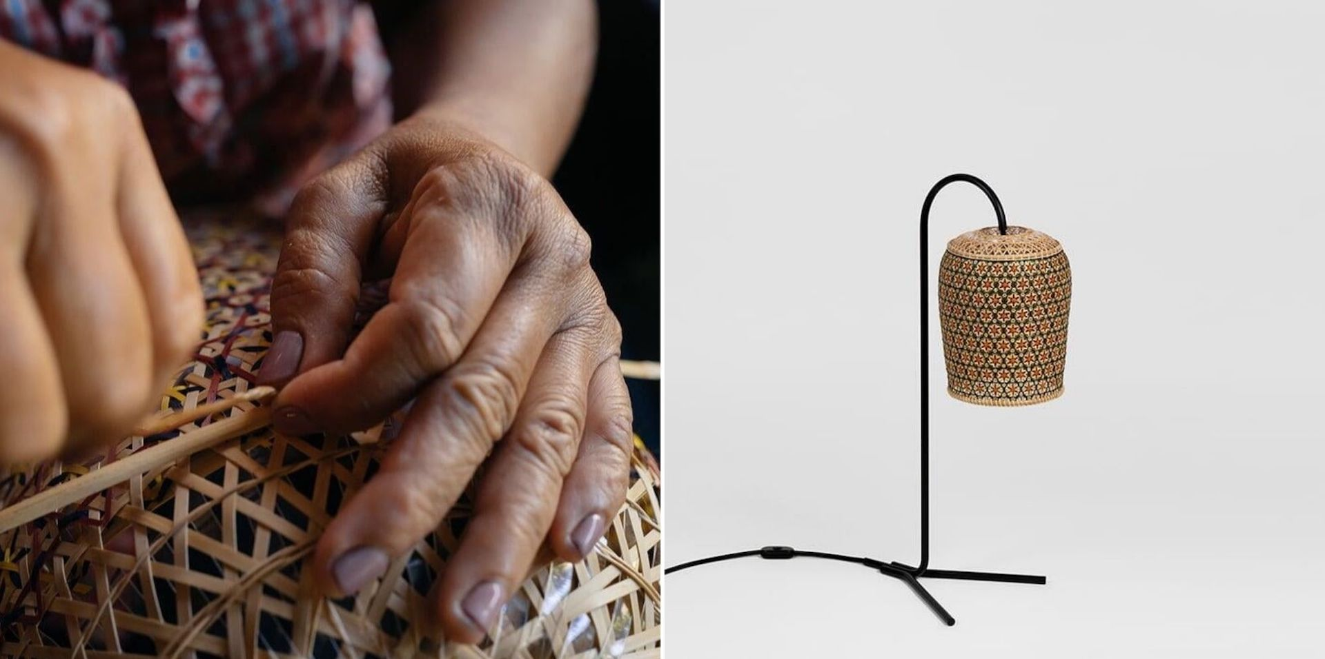 Pikul PET Lamps are made in Thailand in collaboration the Traditional Bamboo Handicraft Center. The collection combines discarded PET plastic with bamboo. Photos © PET Lamp