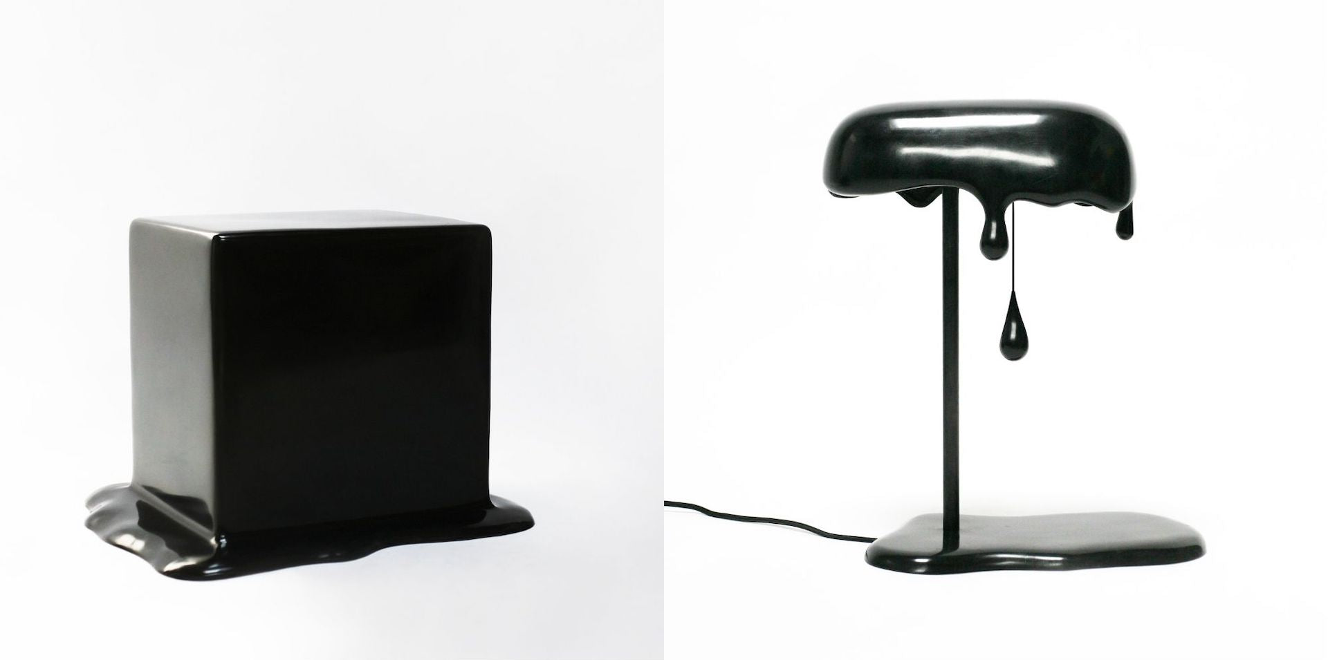 Puddle bench and Bosch Ink Writer table lamp, both part of The Melting Series - Black Patina by Reinier Bosch, a family of bronze design objects that seem to melt. Photos © Priveekollektie