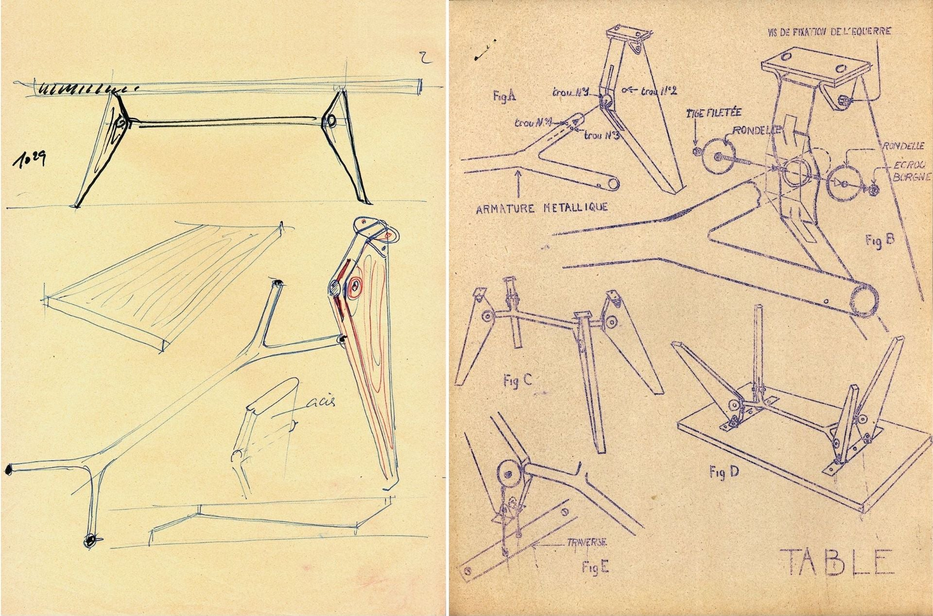 Left: Sketch of the S.A.M. Table by Jean Prouvé detailing the crossmember between the legs. Right: S.A.M. No. 502 Table assembly instructions by Ateliers Jean Prouvé, ca. 1951. Images courtesy of Galerie Patrick Seguin