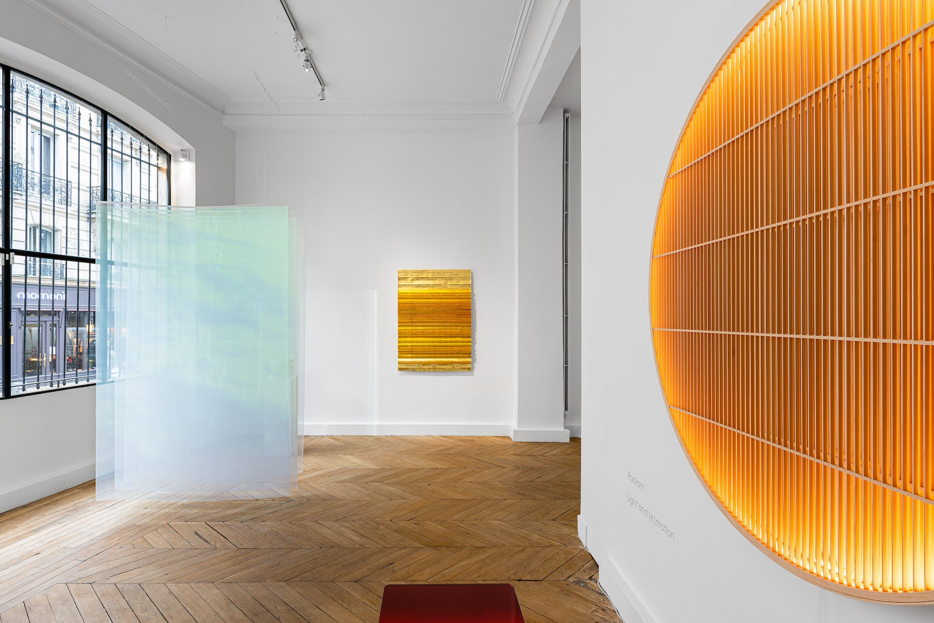RADIANT: Light and (e)Motion at Galerie Maria Wettergren, featuring work by Grethe Søorensen, Astrid Krogh, and Ane Lykke. Photo © Gregory Copitet; Courtesy of Galerie Maria Wettergren