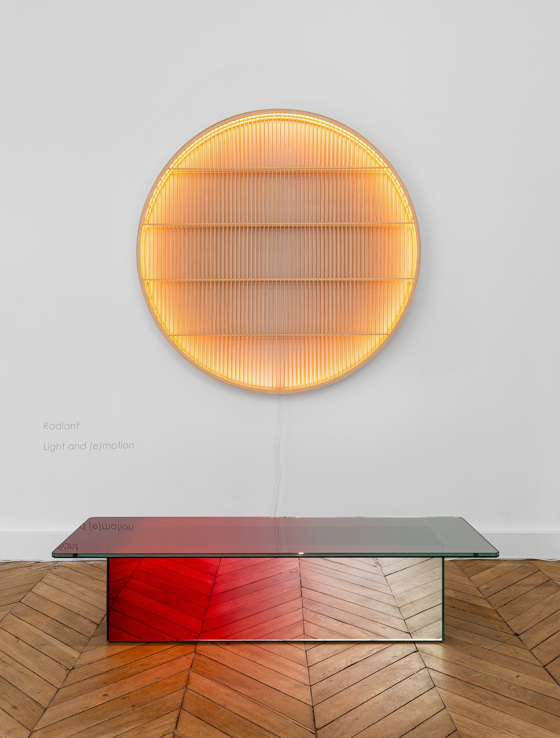 RADIANT: Light and (e)Motion at Galerie Maria Wettergren, featuring Light Object by Ane Lykke, 2018, and Presence–Absence by Germans Ermics and Iskos-Berlin, 2017. Photo © Gregory Copitet; Courtesy of Galerie Maria Wettergren