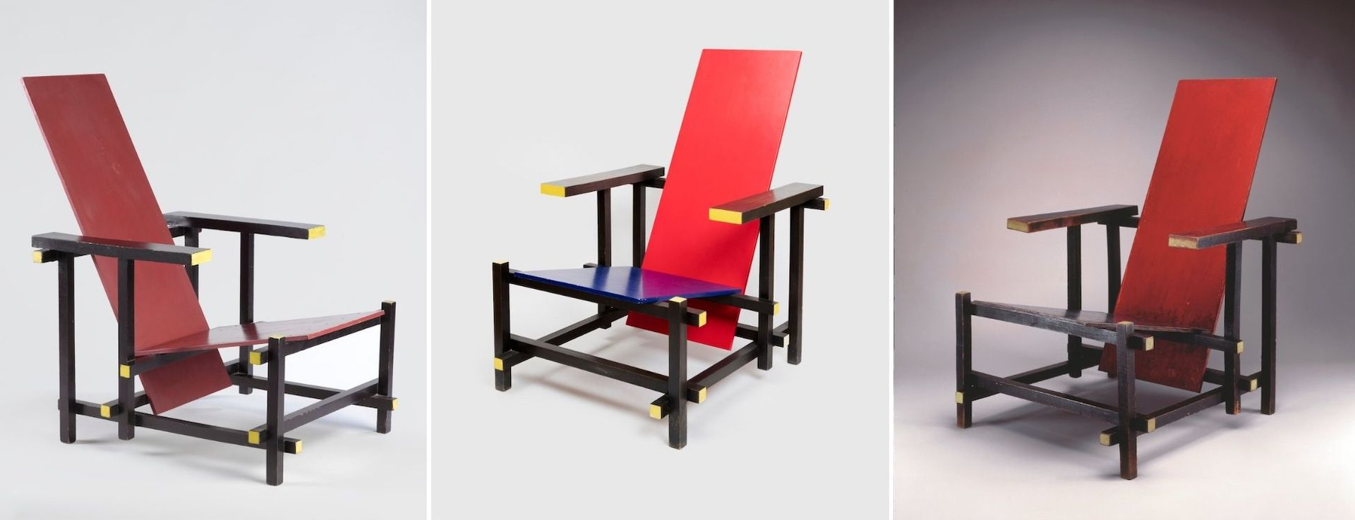 Most surviving Red Blue Chairs are in museum collections, like these found at the Brooklyn Museum, the Cooper Hewitt Museum, and the High Museum. Photos @ respective museums