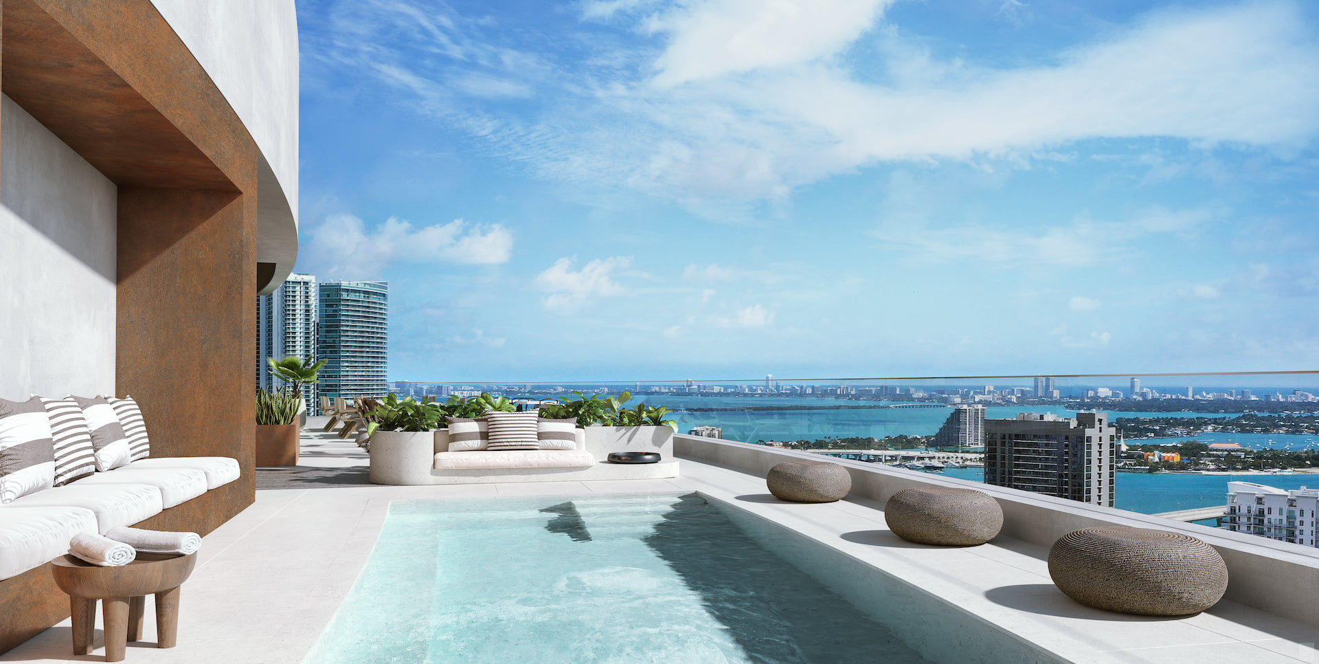 Rooftop pool area of District 225 in downtown Miami, a pioneering  residential development in collaboration with Related Group and AirBnB. Photo © Meshberg Group