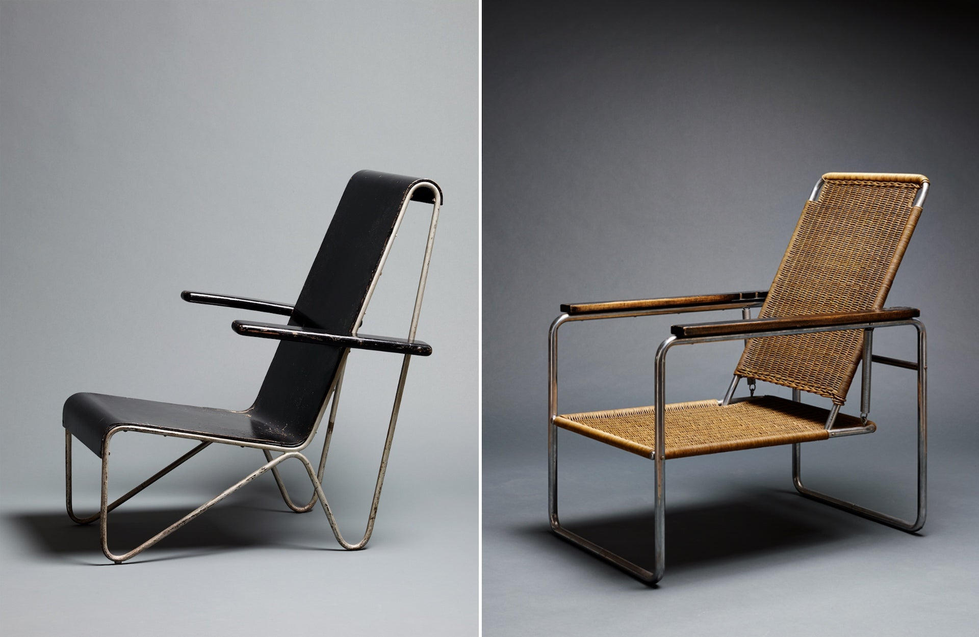 Beugel Armchair by Gerrit Thomas Rietveld, 1927, and Lounge Chair B25 by Marcel Breuer, 1928/29. Photos © Galerie Ulrich Fiedler
