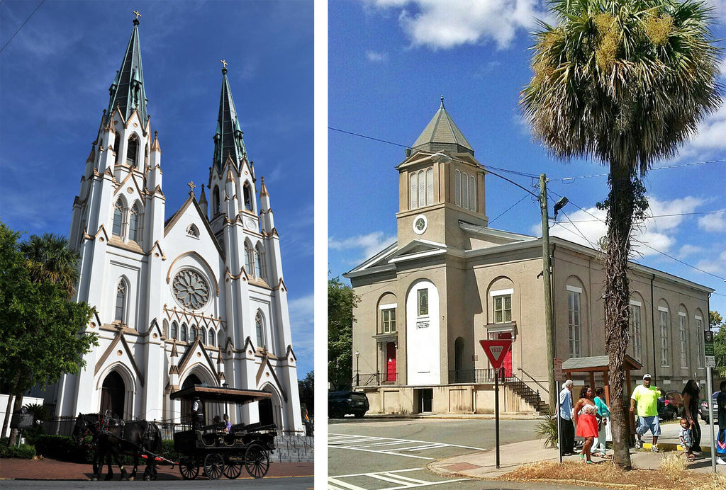 Left: Cathedral Basilica of St. John the Baptist. Photo © Steve Bisson; Right: First African Baptist Church, Savannah. Photo © David Hoffman.