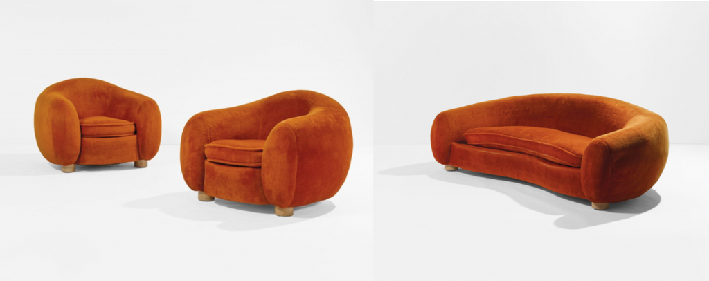 A Polar Bear Sofa and Pair of Chairs (1947/1962) by Jean Royère sold at Christie's Paris in June for €1,090,000 and €1,150,000 respectively. Photo © Christie's Images Ltd. 2020
