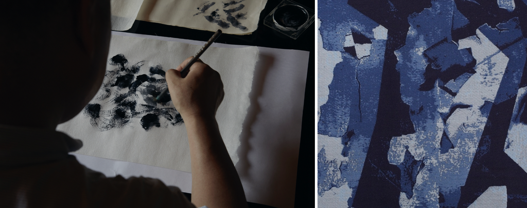 A craftsman at work at Hosoo, a multi-generational, family-run textile maker in Nishijin, Kyoto, in operation since 1688; silk Hosoo Textile Collage 9035 designed by Studio OeO. Photos © Les Ateliers Courbet