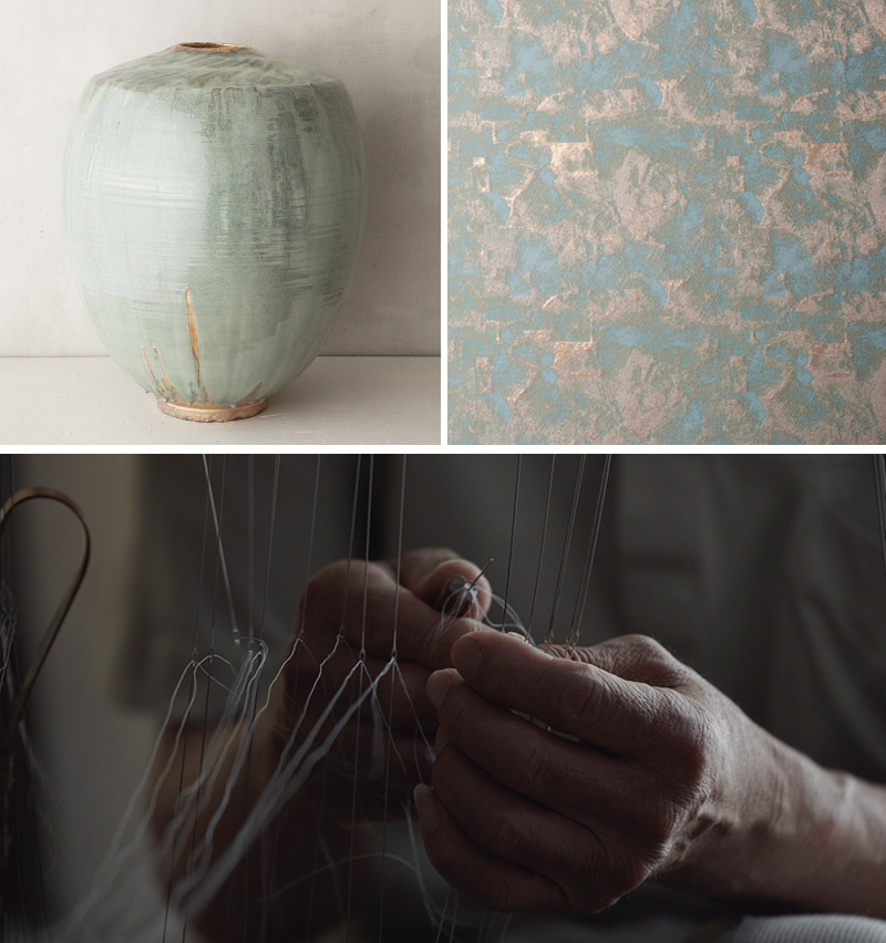 From top left: Cela Midori by Karen Swarmi; Hosoo Textile in Stone 9045; a master weaver at Hosoo, a 12th-generation traditional textile maker in Kyoto. Photos © Les Ateliers Courbet