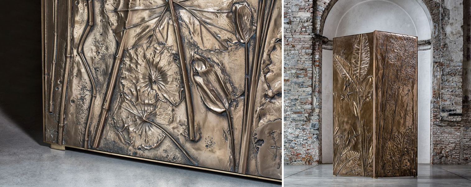 Handcrafted cast-bronze Tropical Fossil Screen by Gianluca Pacchioni. Photo © Les Ateliers Courbet
