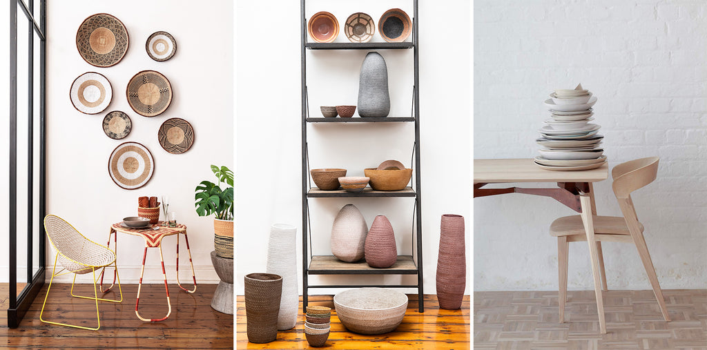Source baskets, pottery, and tableware. Photos © Southern Guild