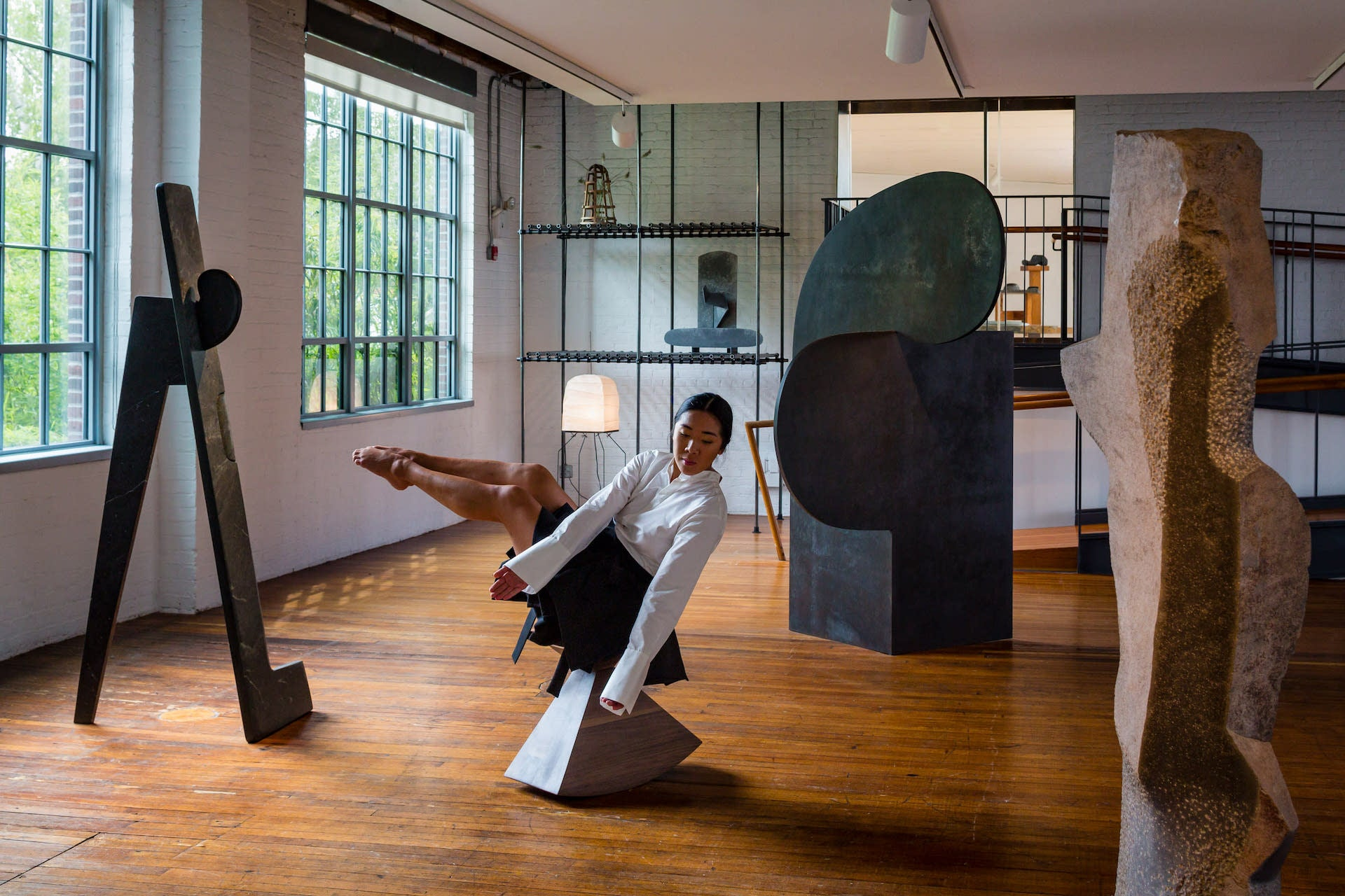 Brendan Fernandes: Contract and Release at the Noguchi Museum, 2019-2020. Photo by Nicholas Knight; © The Isamu Noguchi Foundation and Garden Museum / Artists Rights Society