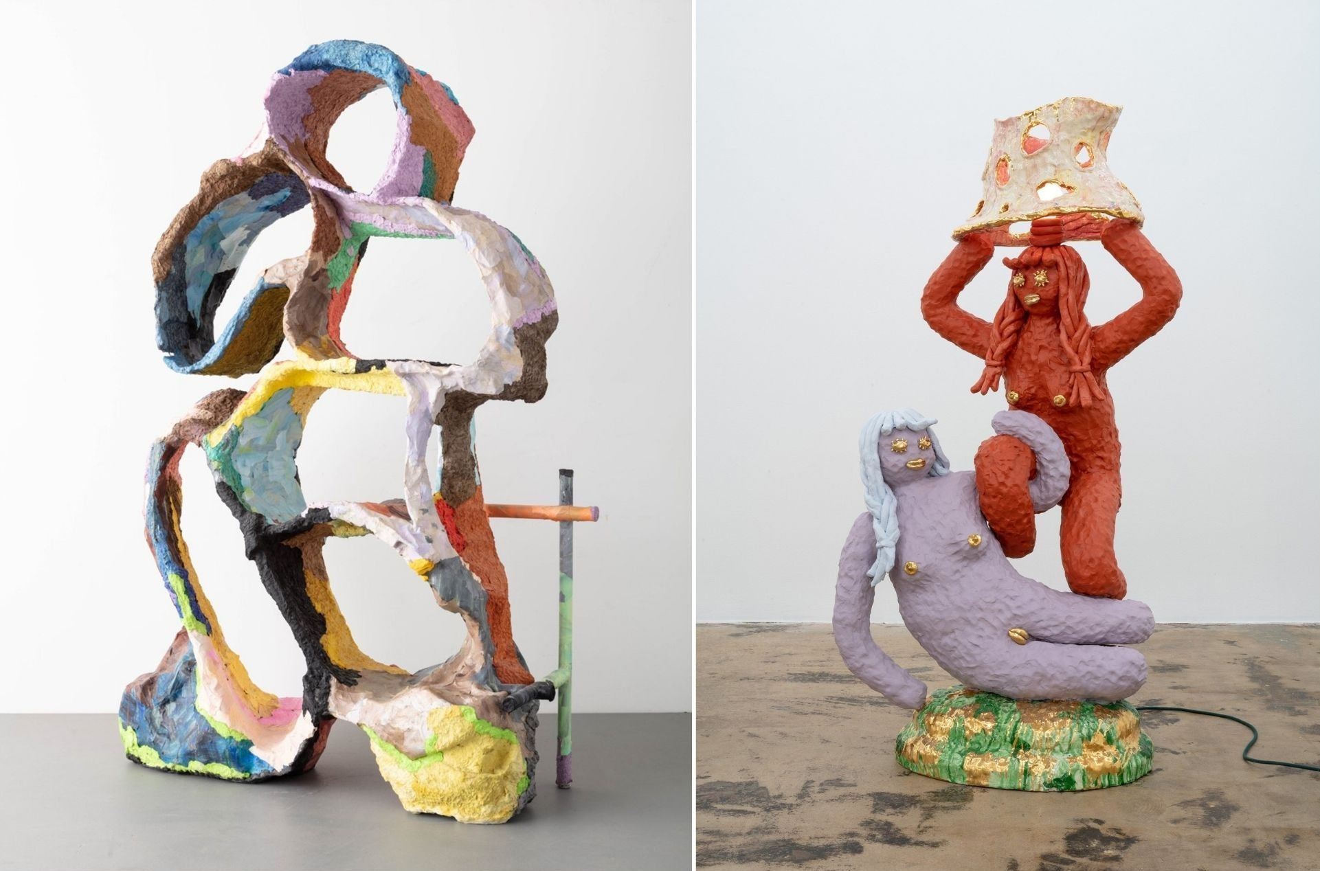 Katie Stout's Paper Pulp Shelf (2020) and Double Lady (Roman Embrace) Floor Lamp (2020). Photos © Balarama Heller