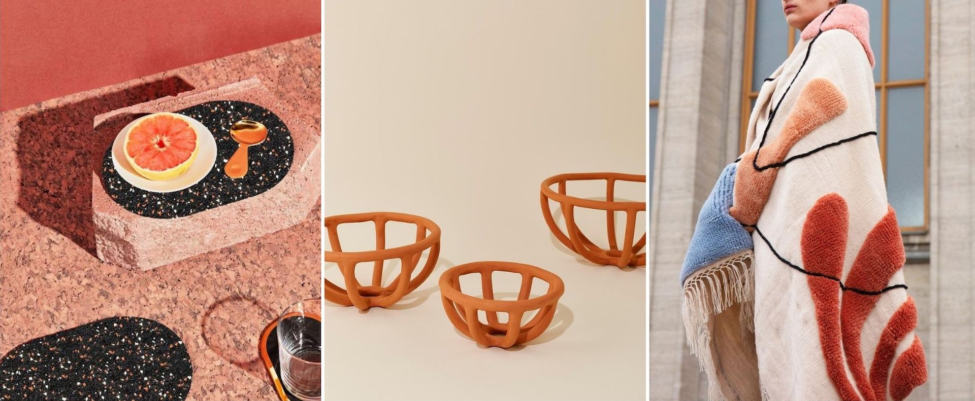 Design items donated to the #DesignforATL fundraiser; from left: Slash Objects' Table Set;  Virginia Sin's Prong Terracotta Bowl, and Studio Proba's New Zealand Wool Blanket. Photos courtesy of #DesignforATL