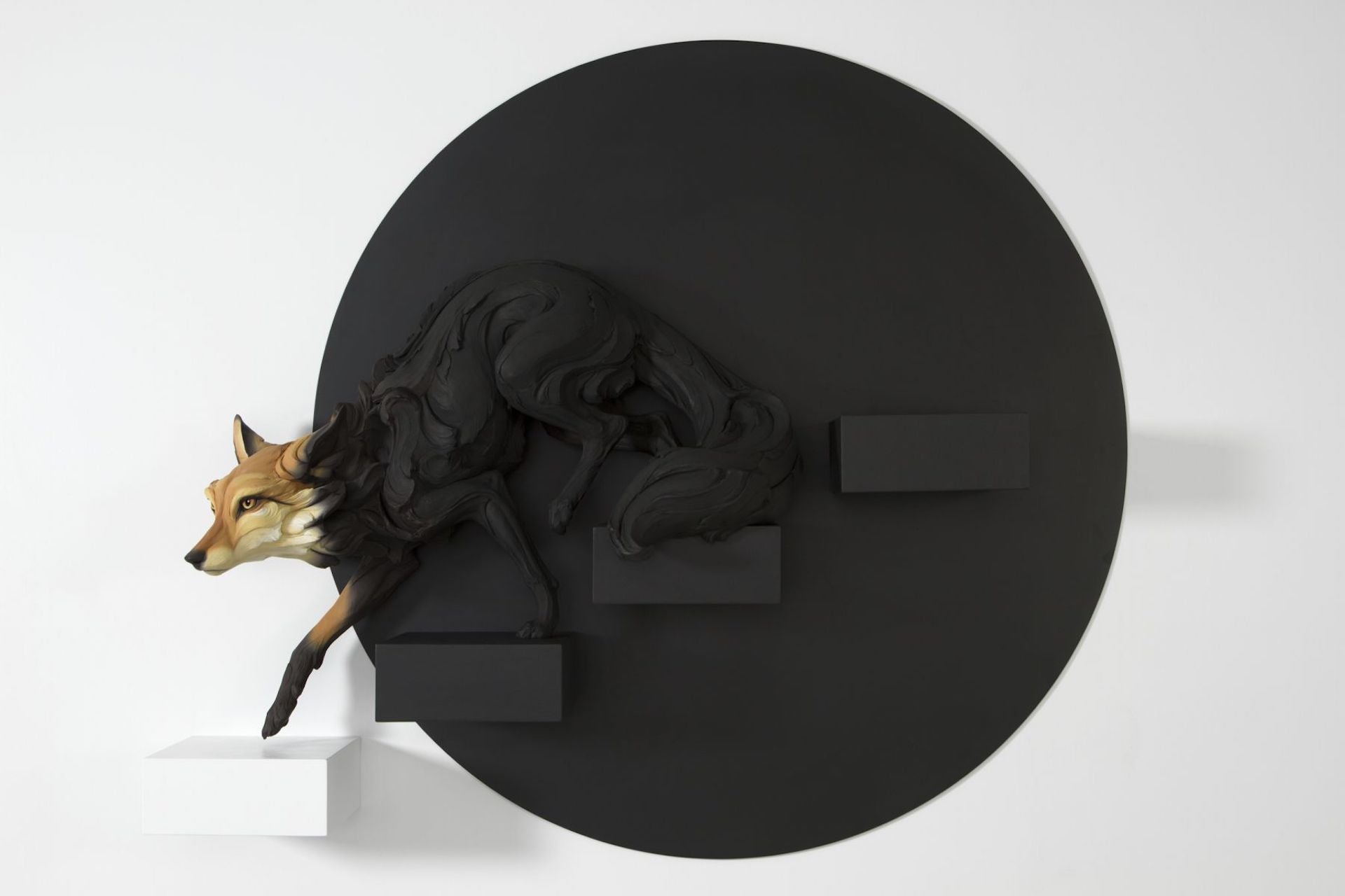 Through an Empty Place (The Fox Emerging from Shadow) by Beth Cavener, 2017. Photo © Jason Jacques Gallery
