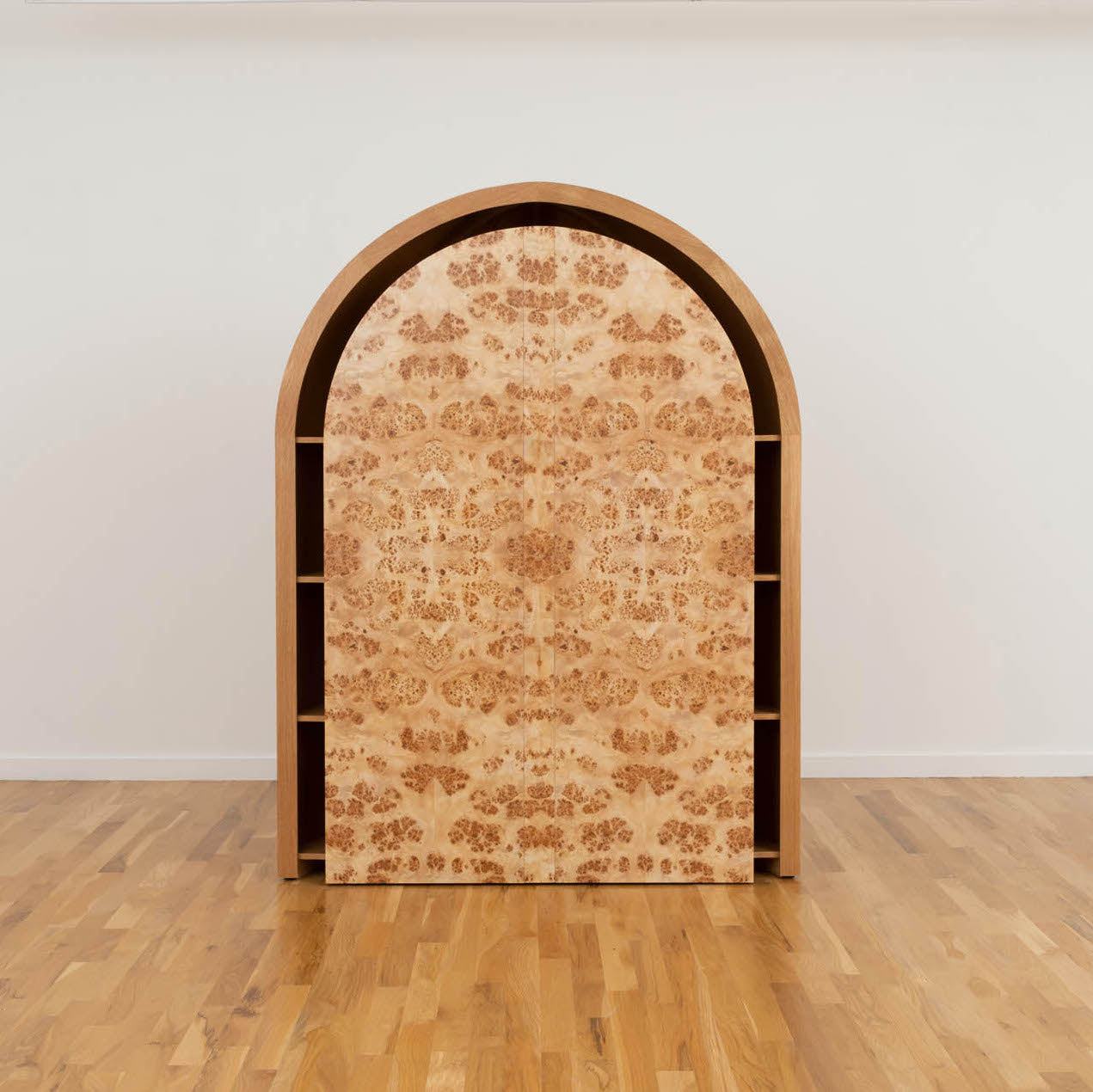 Burly Mappa Cabinet by Ross Hansen, a one-of-a-kind made of Mappa burle and oak veneer. Photo © Volume Gallery