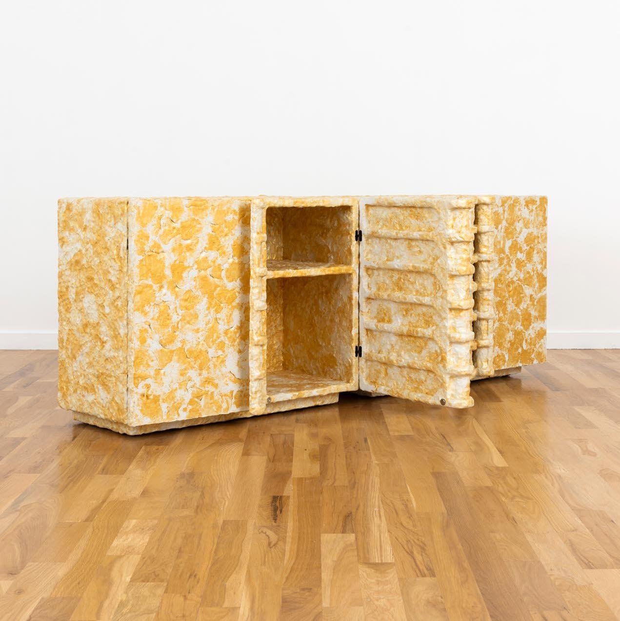 Shimmer Cabinet by Ross Hansen, a one-of-kind made of ceramic epoxy and wood. Photo © Volume Gallery
