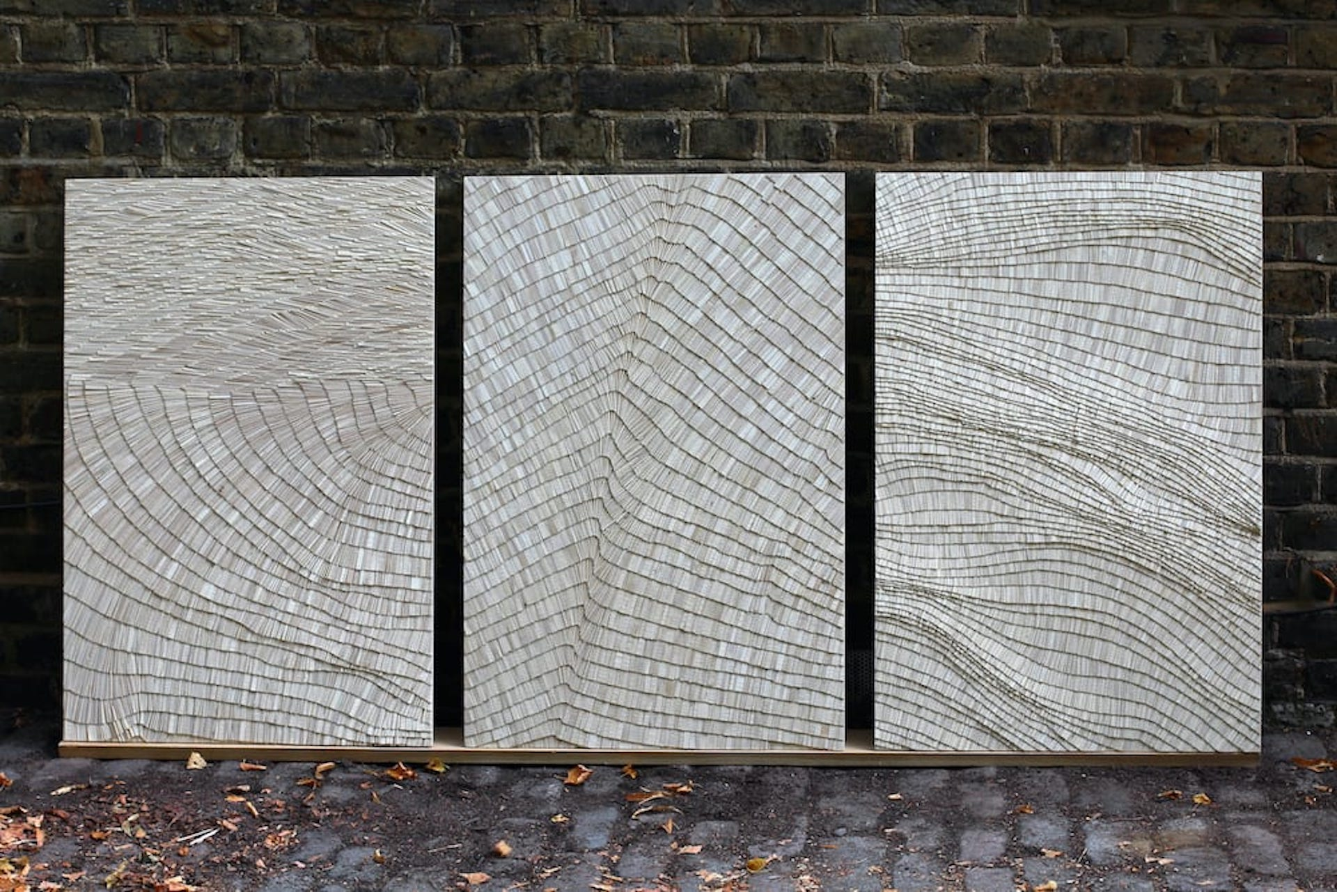The Hill 10, 11 & 12 by Wycliffe Stutchbury, 2020; composed of felled common holly. Photo © Sarah Myerscough Gallery
