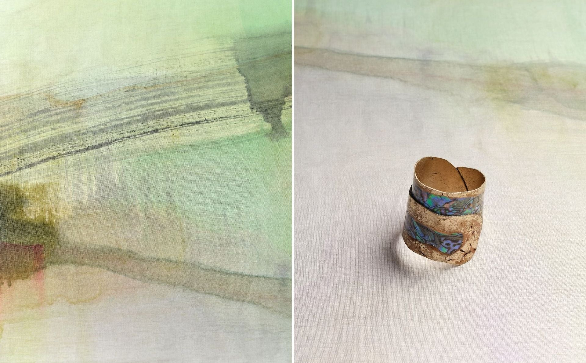 Natural Linen Tablecloth and Mother of Pearl Napkin Bracelet by Yolande Milan Batteau for The Feast. Photos © DM/BX