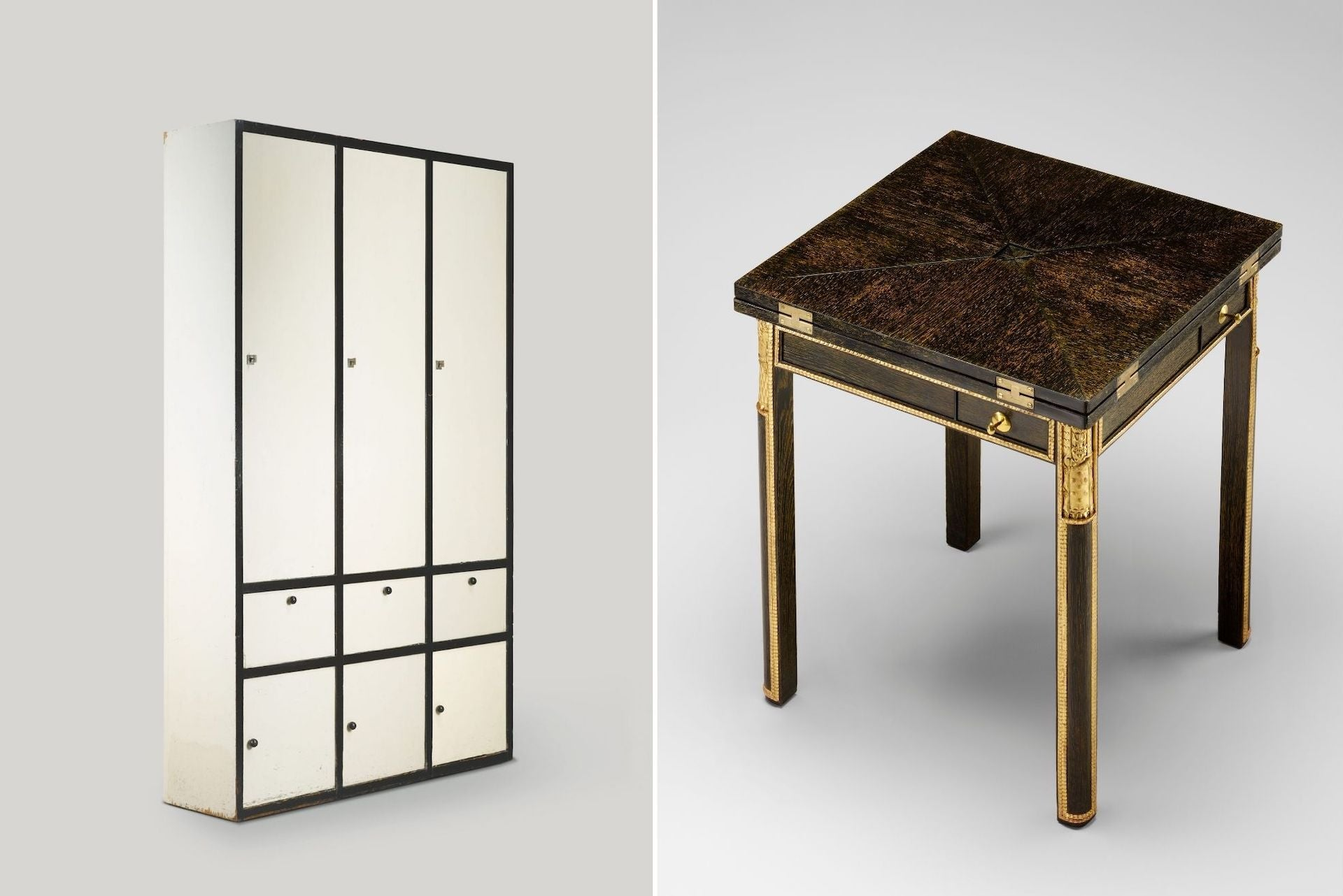 Cabinet by Josef Hoffmann for the Flöge Sisters' Fashion House, 1904. Game Table by Josef Hoffmann and Carl Otto Czeschka  for Karl Wittgenstein, 1906. Photos © Pasodoble