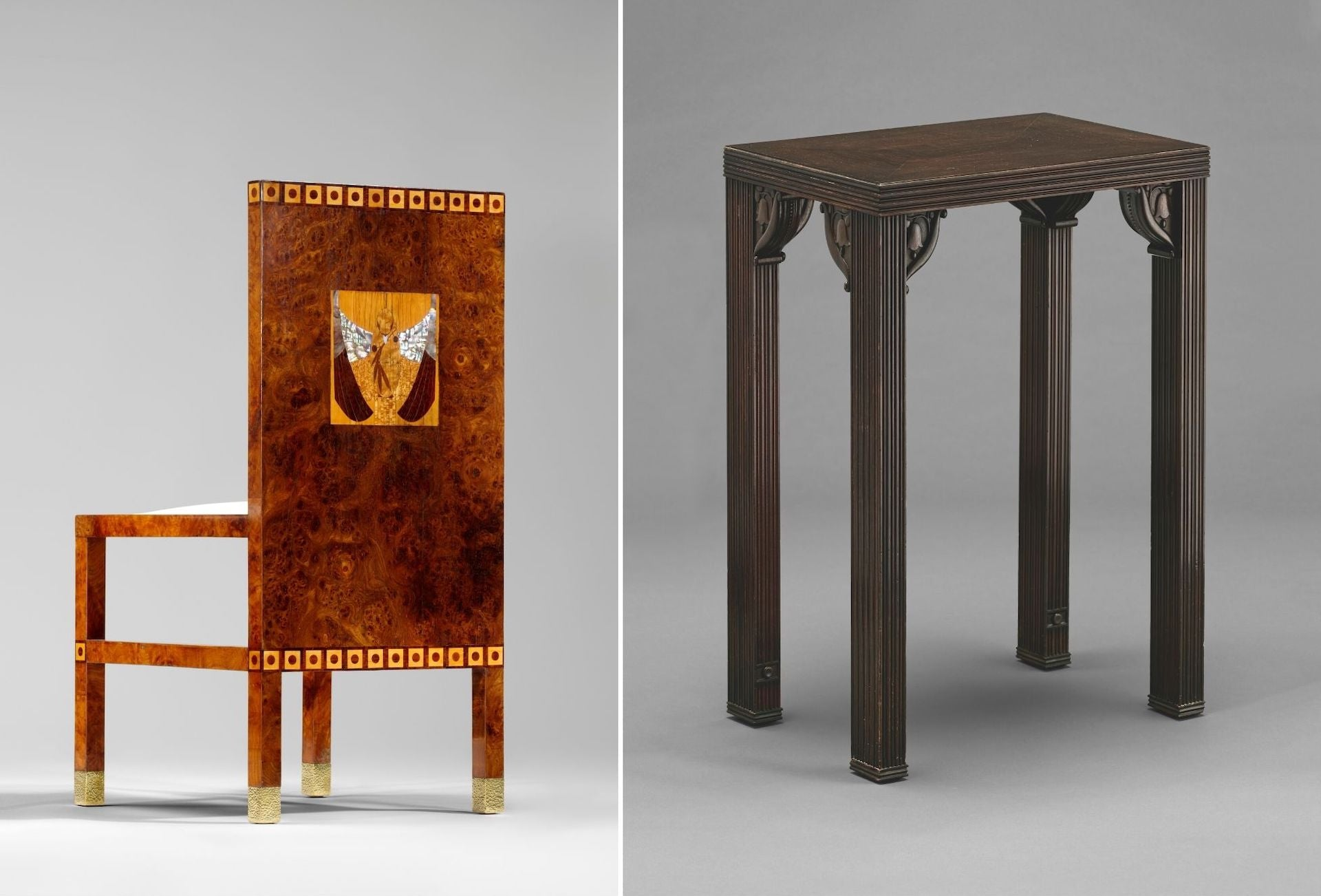 Side Chair by Koloman Moser for  Dr. Hans and Gerta Eisler Von Terramare, 1902-03. Side Table by Josef Hoffmann for Otto and Madä Primavesi, c. 1916. Photos © Pasodoble