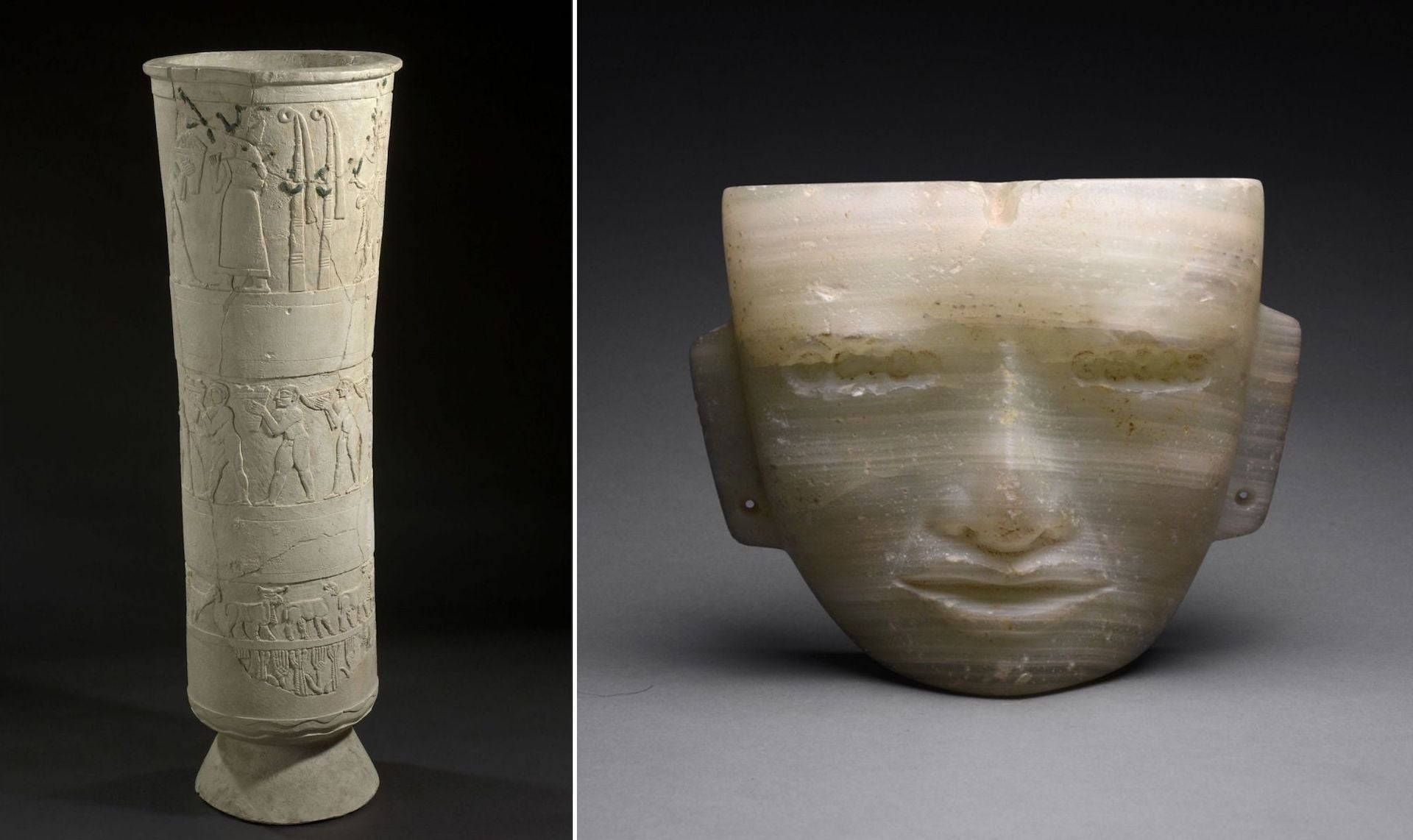 Warka Vase from the Temple of Inanna, ca. 3,000 BCE. Photo © National Museum of Iraq. Teotihuacan Alabaster Mask, ca. 300-700 CE. Photo © Barakat Gallery
