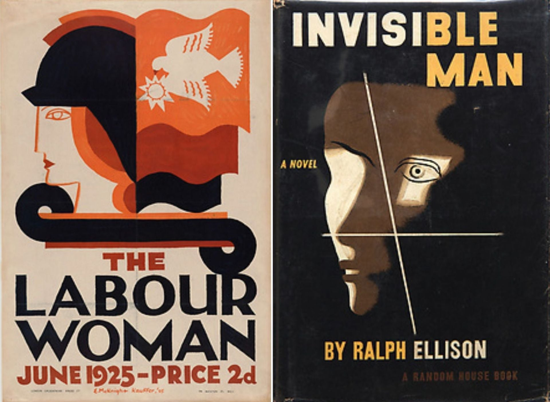 Poster, The Labour Woman, 1925; published by Woman's Labour League, Labour Party (England). Digital Image © The Museum of Modern Art/Licensed by SCALA / Art Resource | Book cover, Invisible Man by Ralph Ellison, 1952; published by Random House. Photo Matt Flynn © Smithsonian Institution