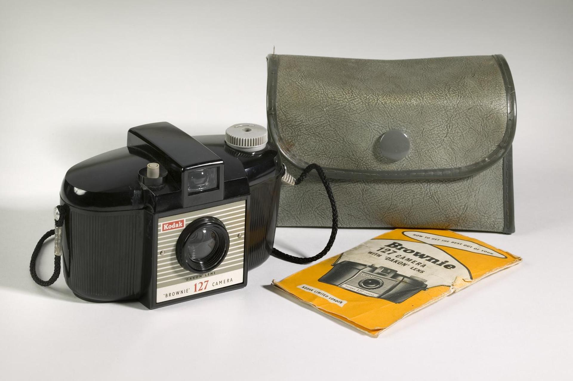 Kodak Brownie 127 with case, c. 1965, from the Science Museum Group Collection. The iconic Brownie was a best selling product through the decades off Kodak's market domination. Photo © The Board of Trustees of the Science Museum