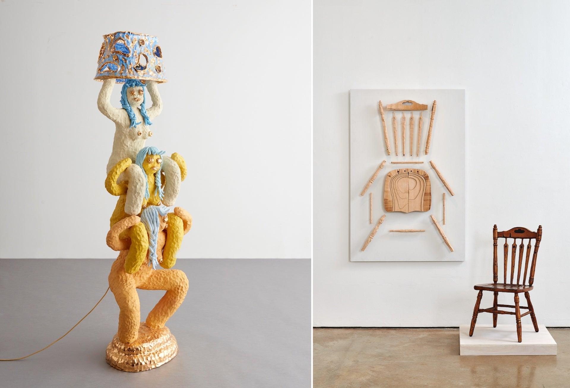 Triple Squat by Katie Stout, 2018. Photo courtesy of R & Company | Skinned Chair by Joyce Lin, 2019. Photo © Peter Molick; Courtesy of the Artist