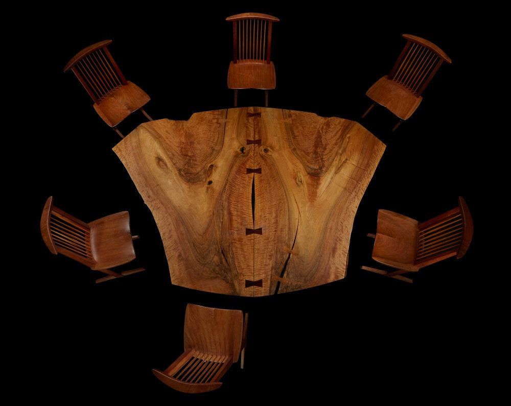 """George Nakashima. The Frosh Family Sanso """"Reception House"""". Table and set of six Conoid Chairs. New Hope Pennsylvania, 1981"""