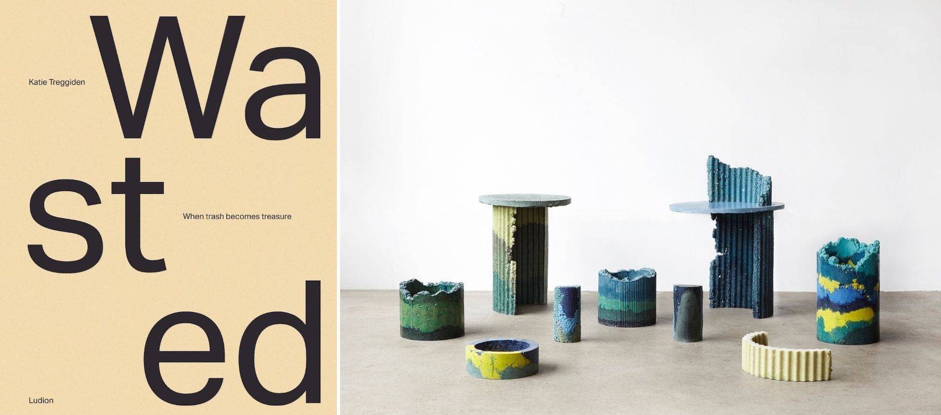 Wasted: When Trash Becomes Treasure cover. Vessels and Side Tables made of CNC dust by designer Charlotte Kidger. Photos courtesy of Ludion