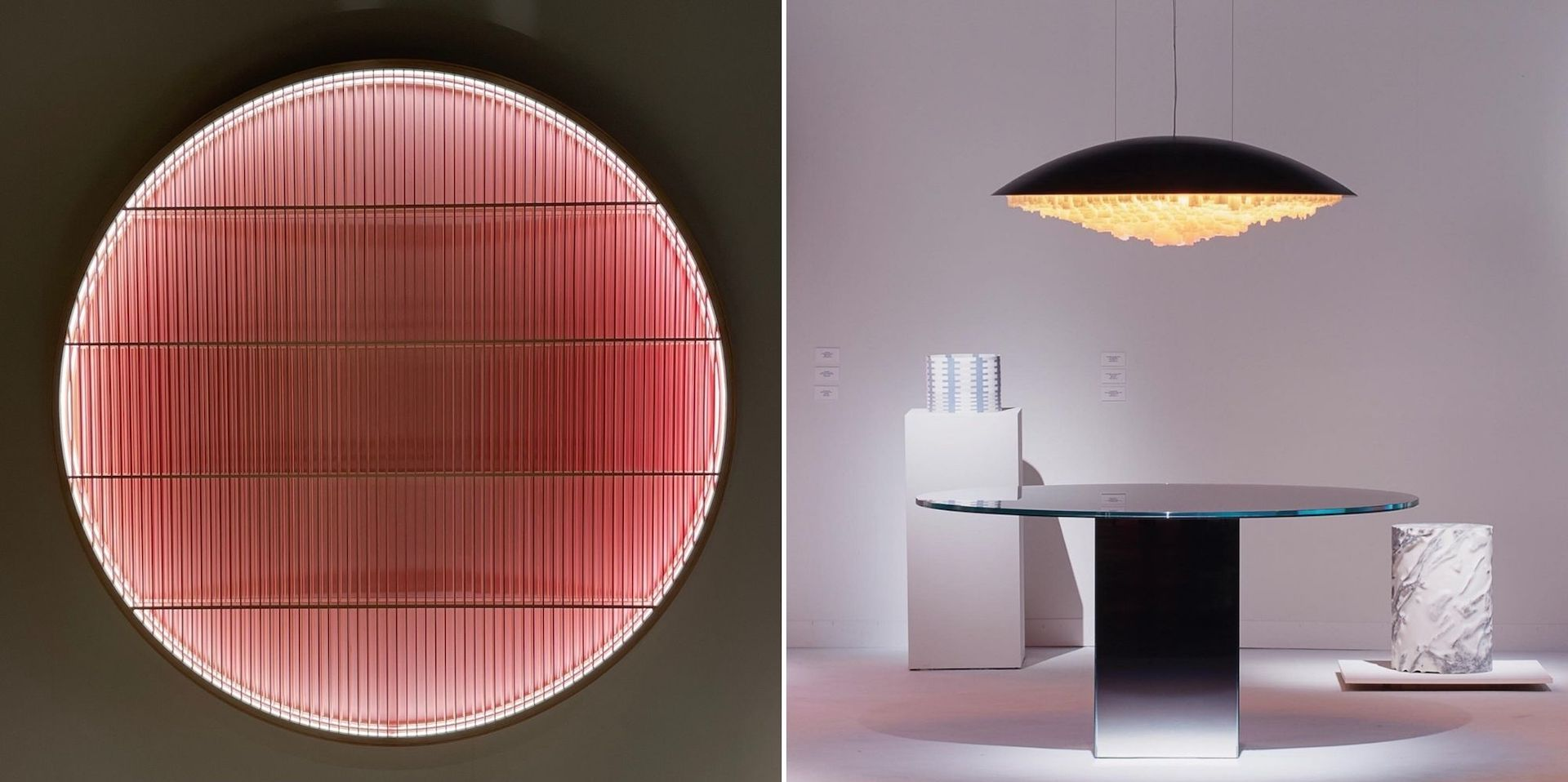 """Two unexpected light forms presented by Galerie Maria Wettergren: Kurenai Light Object by Ane Lykke (Photo © Lee Mindel) and City Light by Boris Berlin & Daniel Berlin (Photo © James Harris). """"A delightful representation of the role that light plays in Scandinavian design."""""""