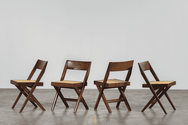 "Pierre Jeanneret Set of 4 ""Library"" chairs"