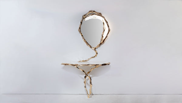 Markus Haase, Bronze and Marble Console with Bronze Mirror