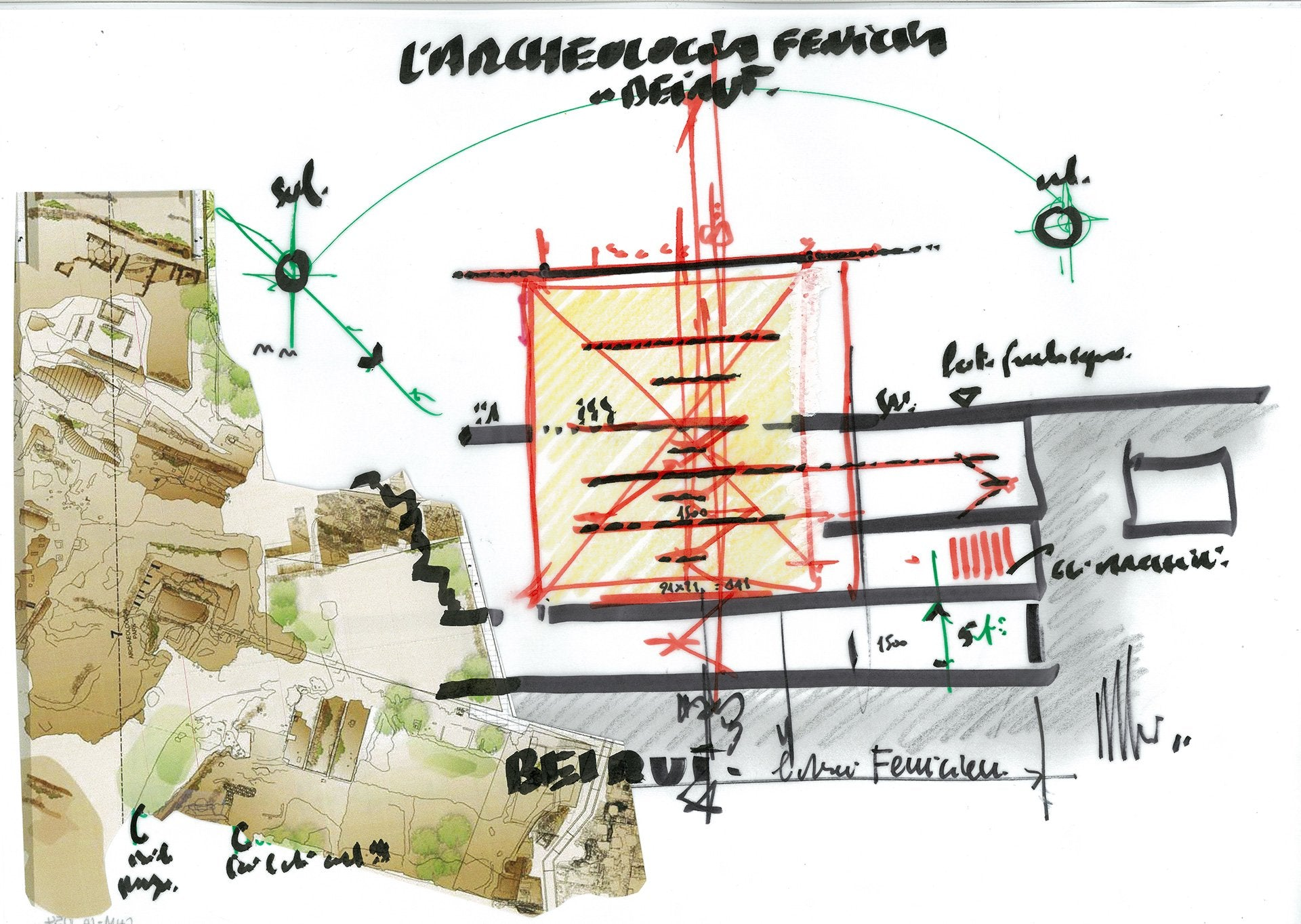 L'Archeologia Fenicia a Beirut Sketch & Collage by Renzo Piano. Photo © Renzo Piano Building Workshop